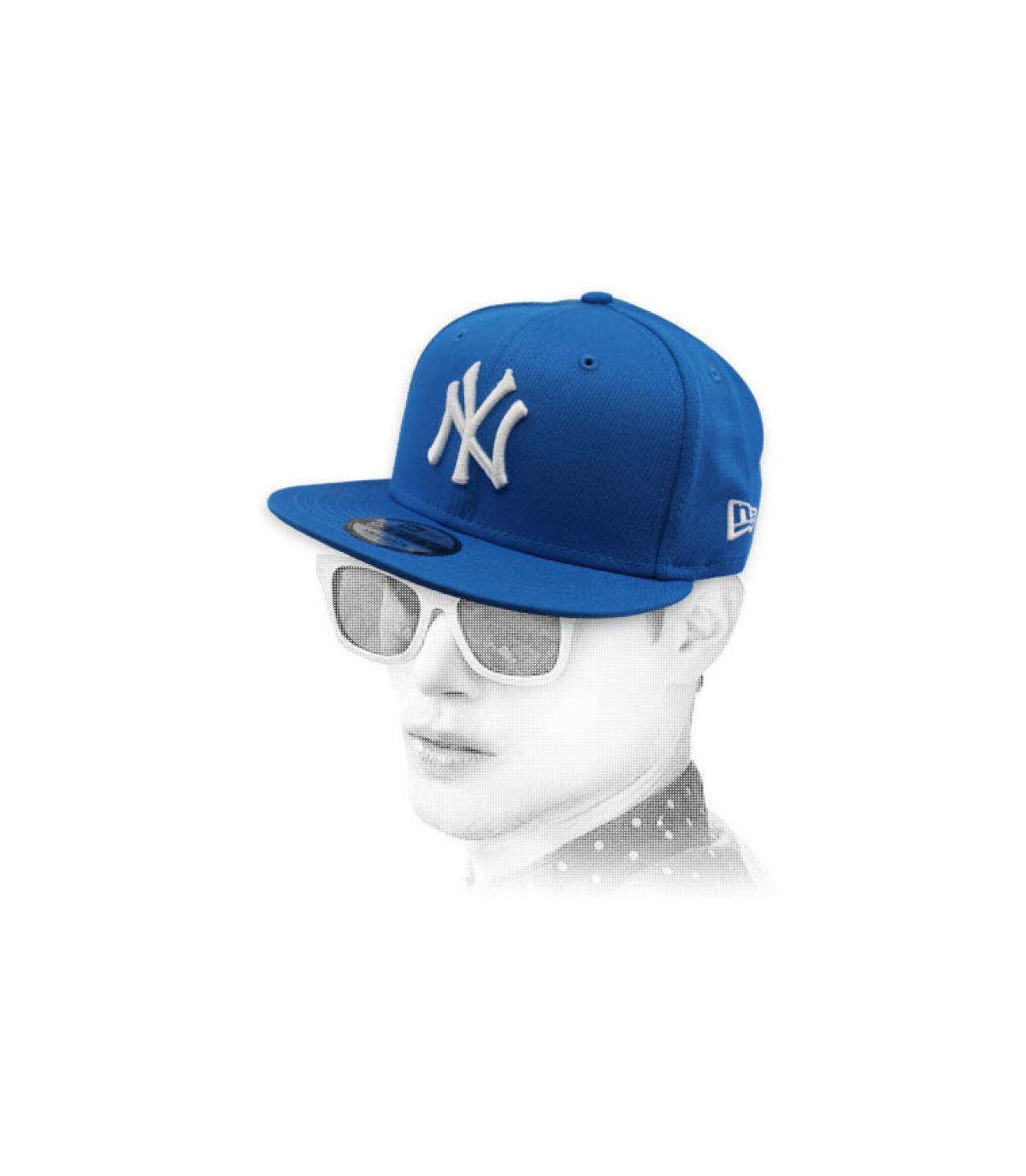 snapback NY blauw wit