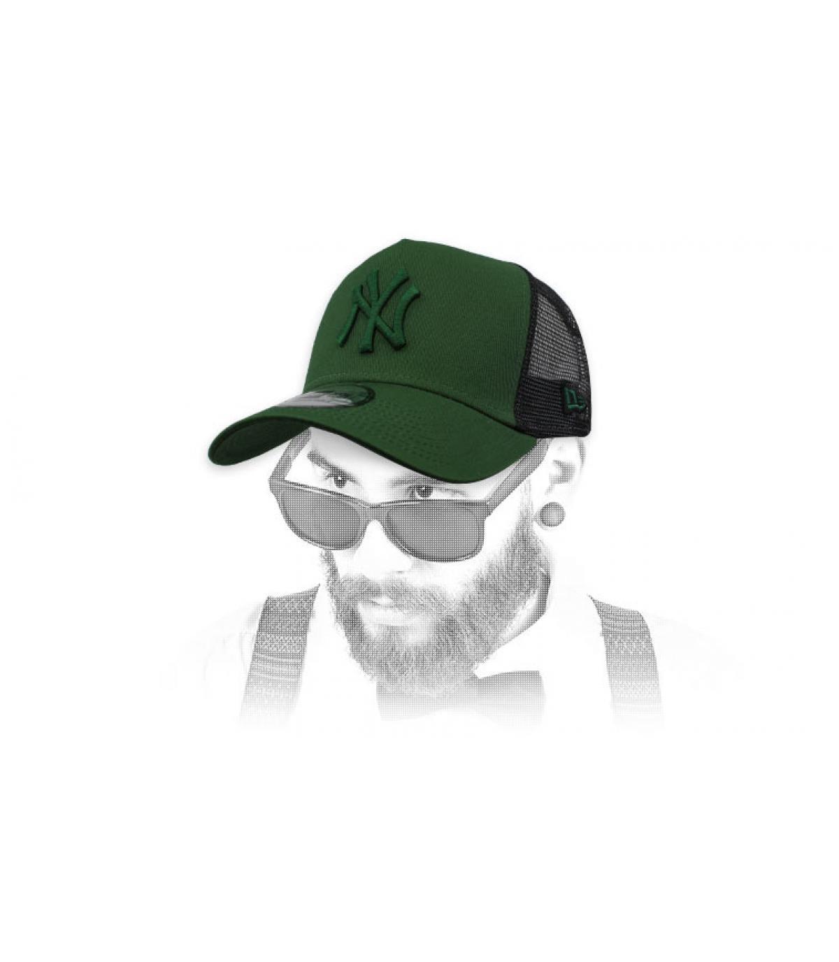 zwarte NY trucker groen