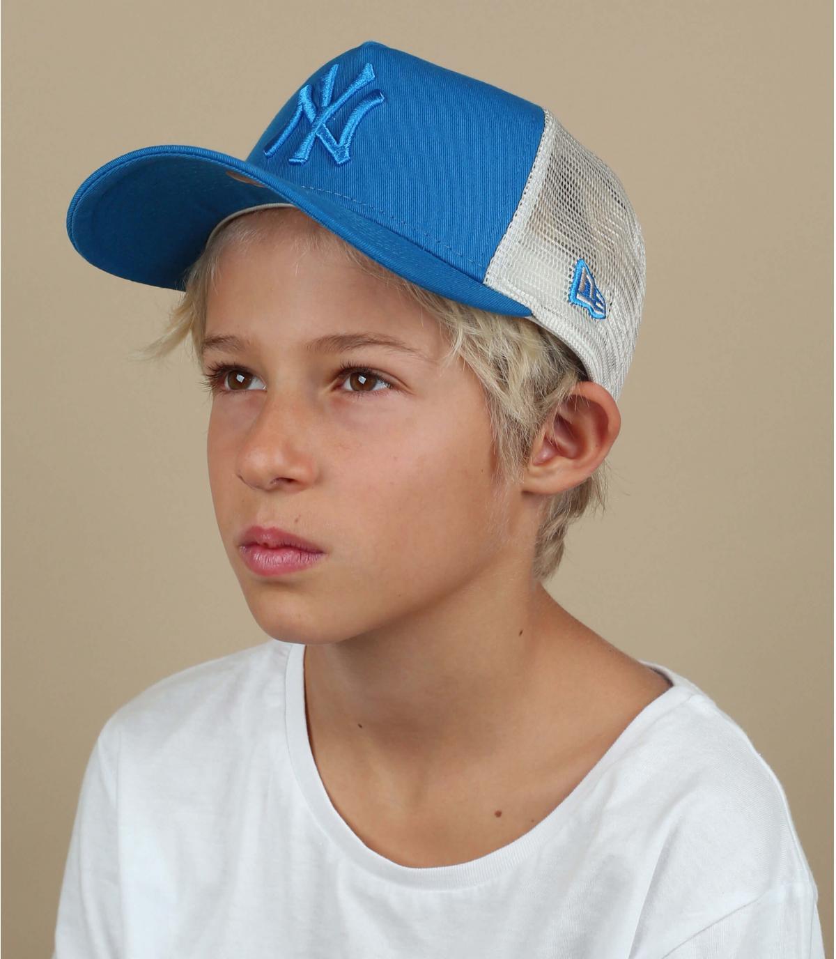 NY kind trucker blauw