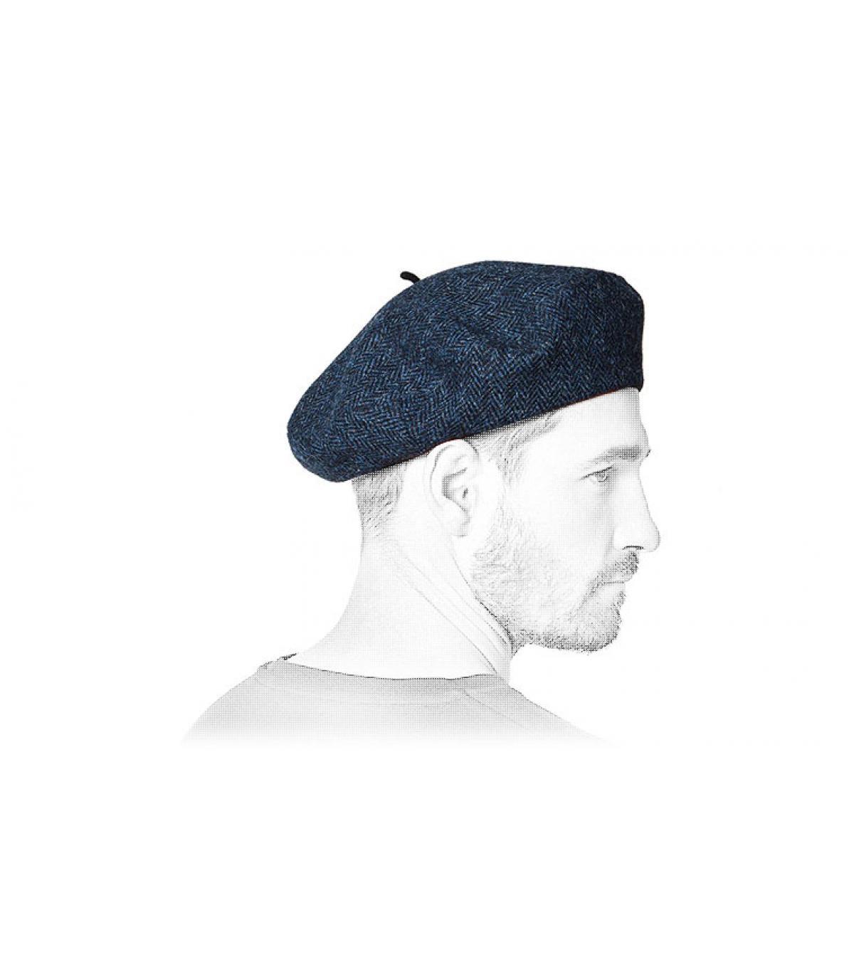 tweed blauwe baret