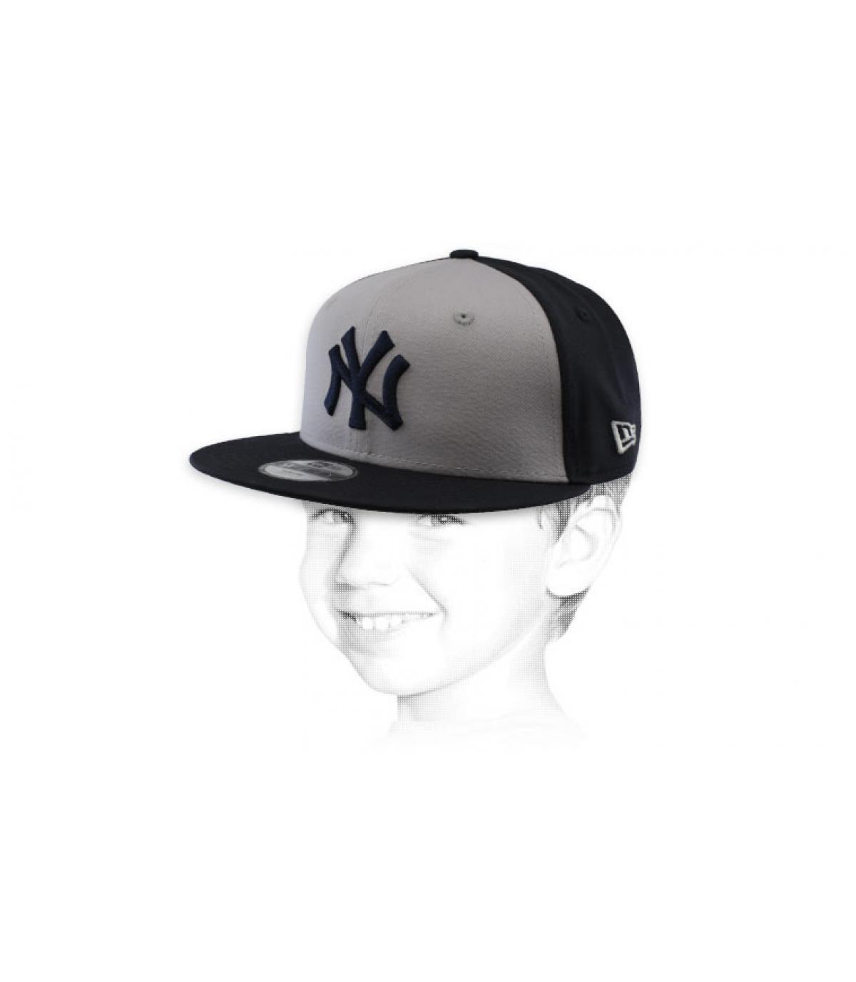 snapback NY kind grijs zwart