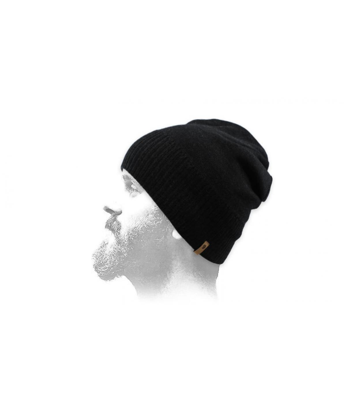 zwarte wollen korte hoed