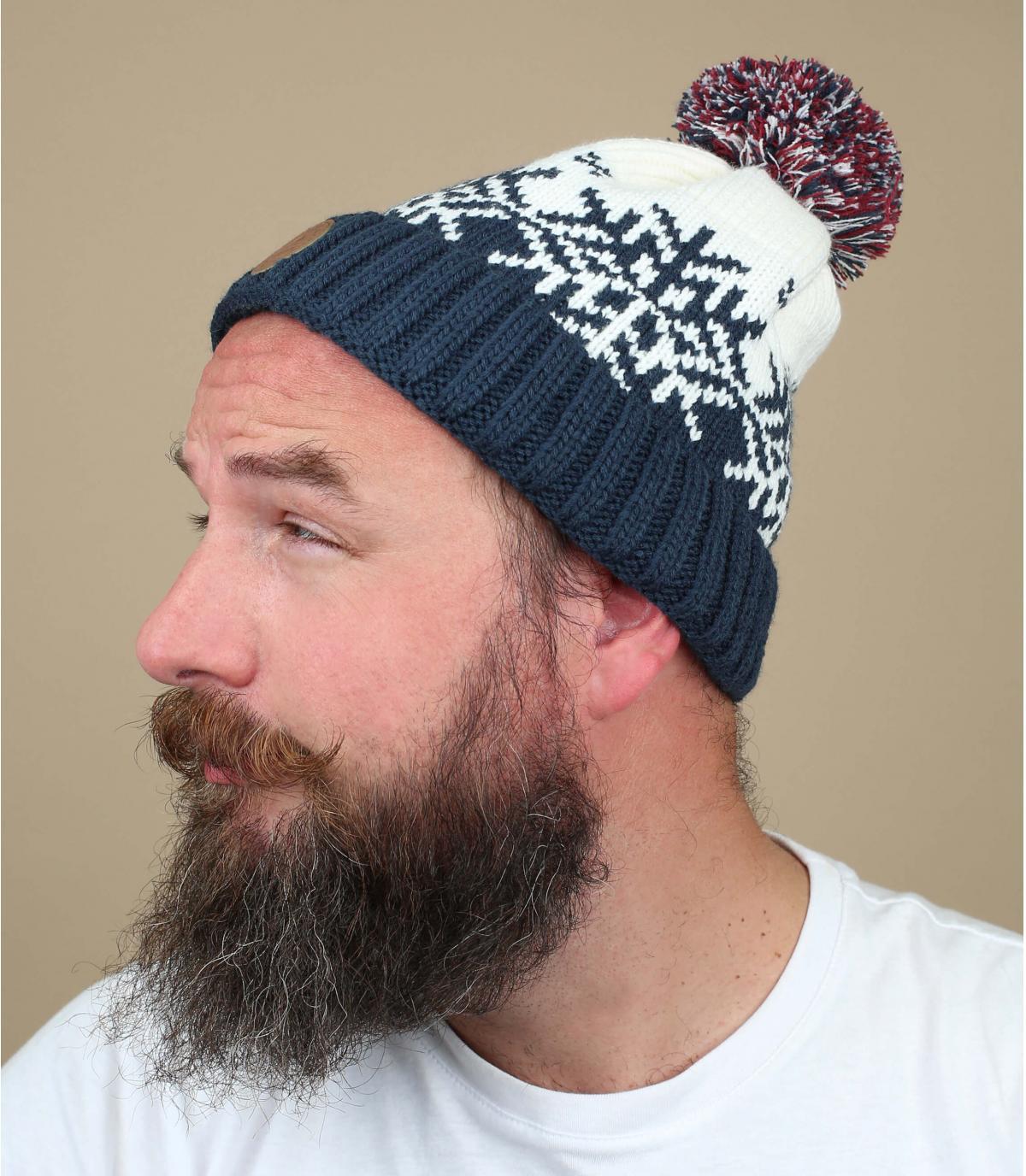 pompon hoed blauwe vlok