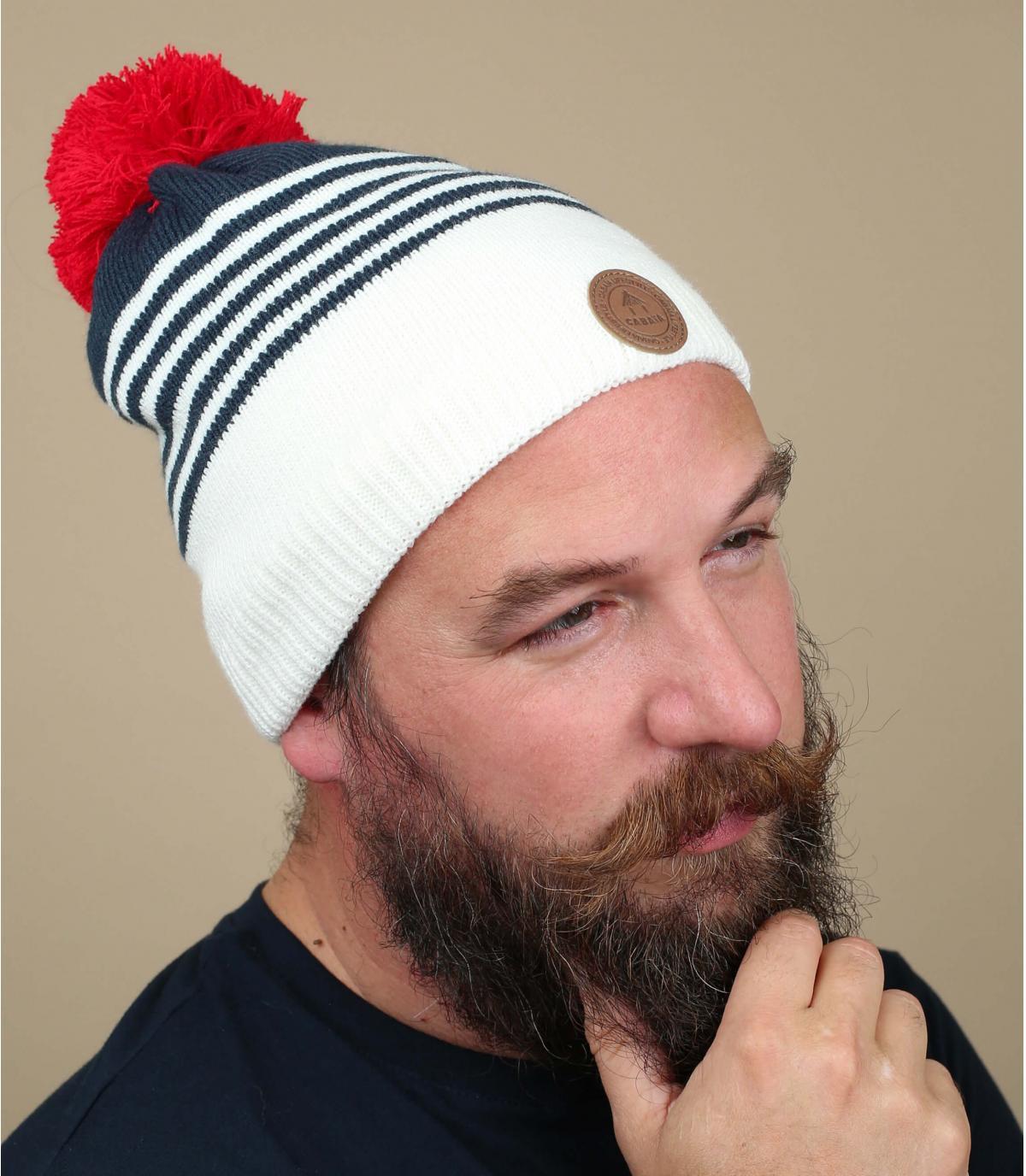 kwastje hoed blauwe strepen