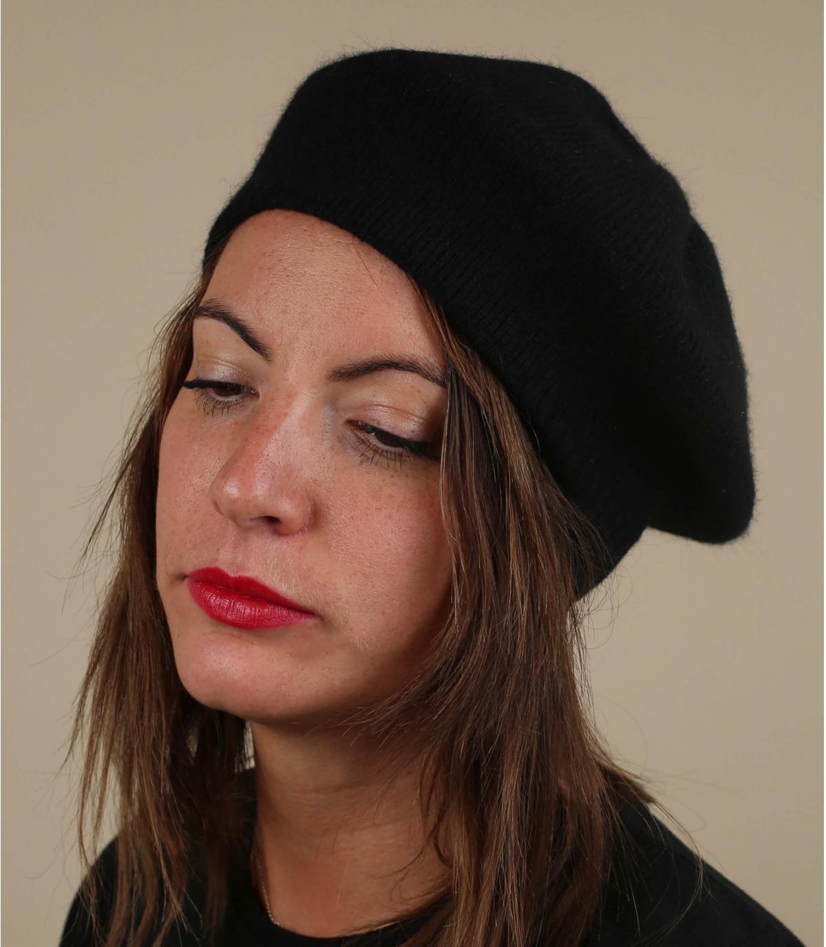 Baskische baret zwarte wol