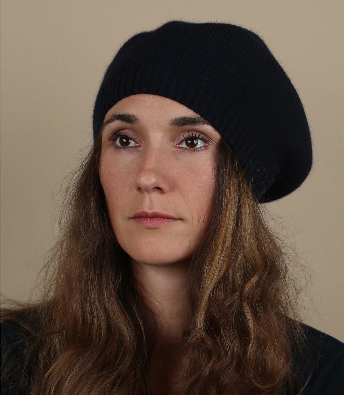 Baskische baret blauwe wol