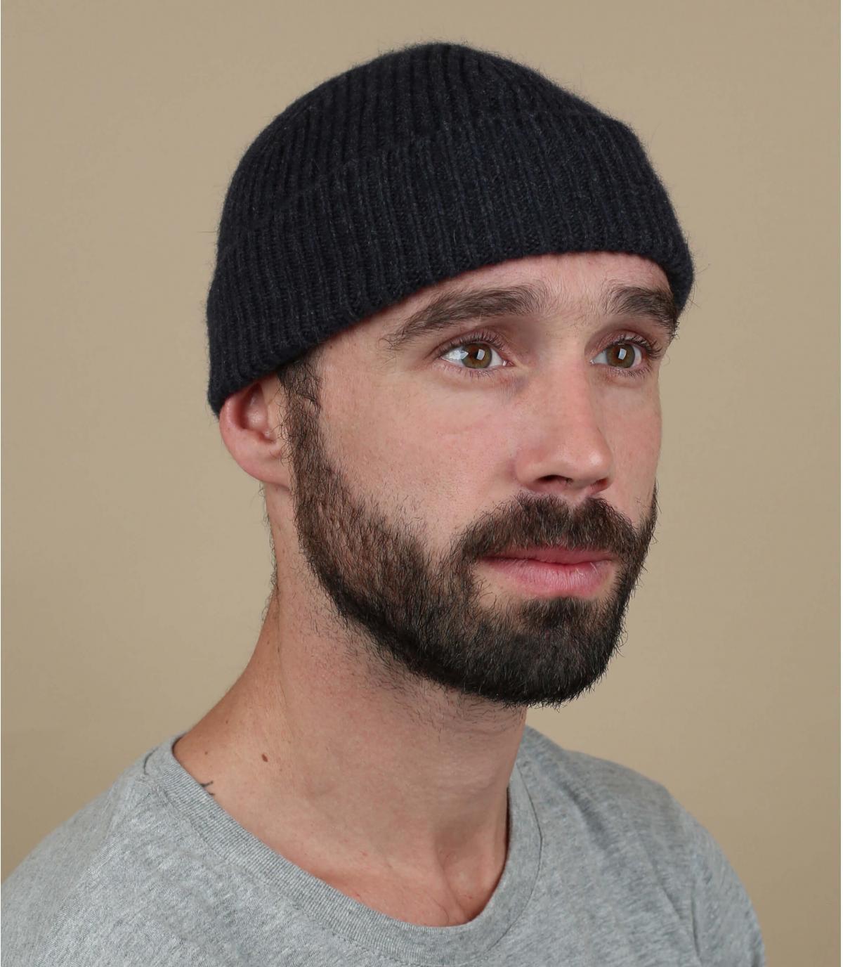 docker hoed grijze wol