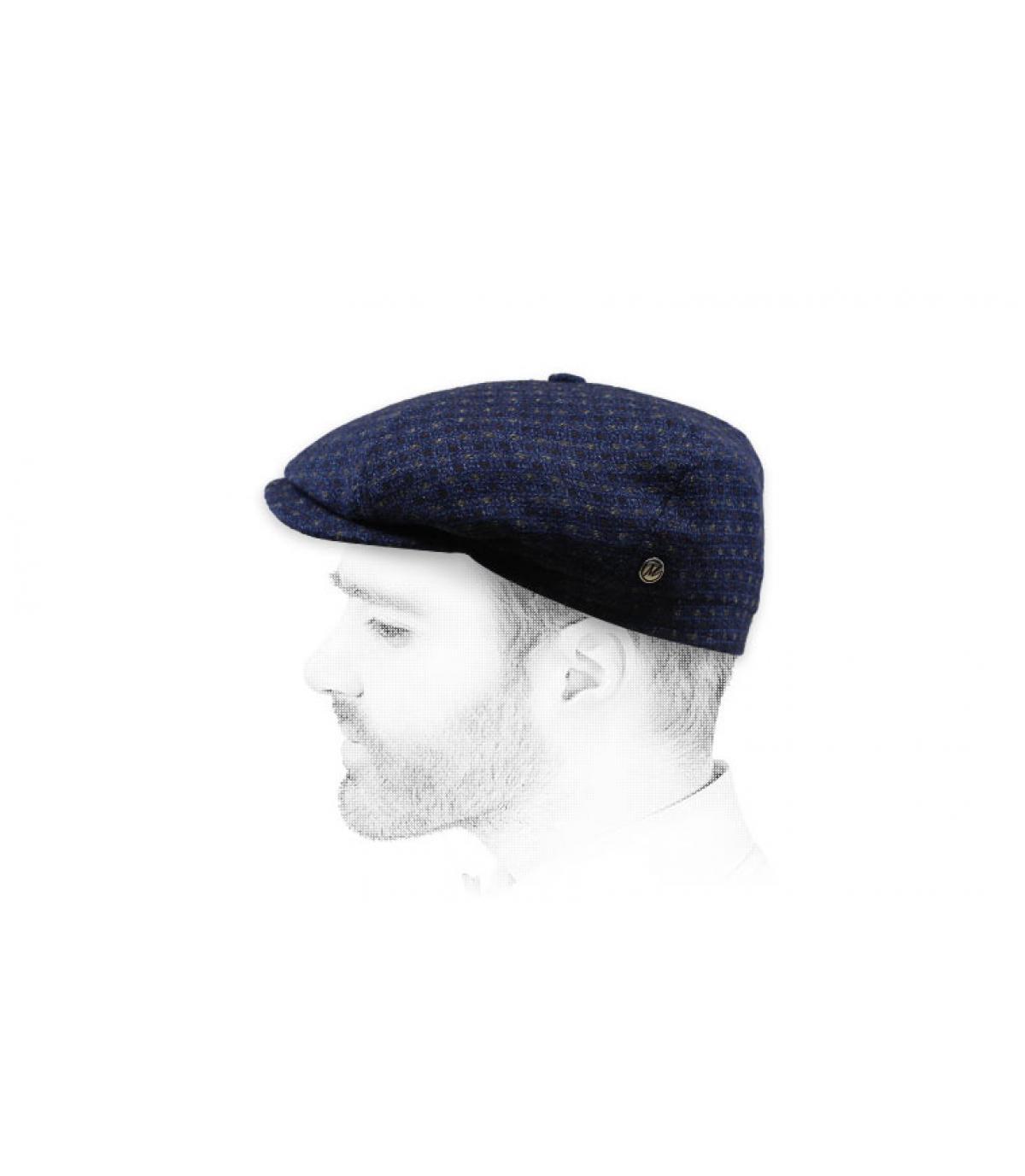 baret marineblauw kasjmier wol