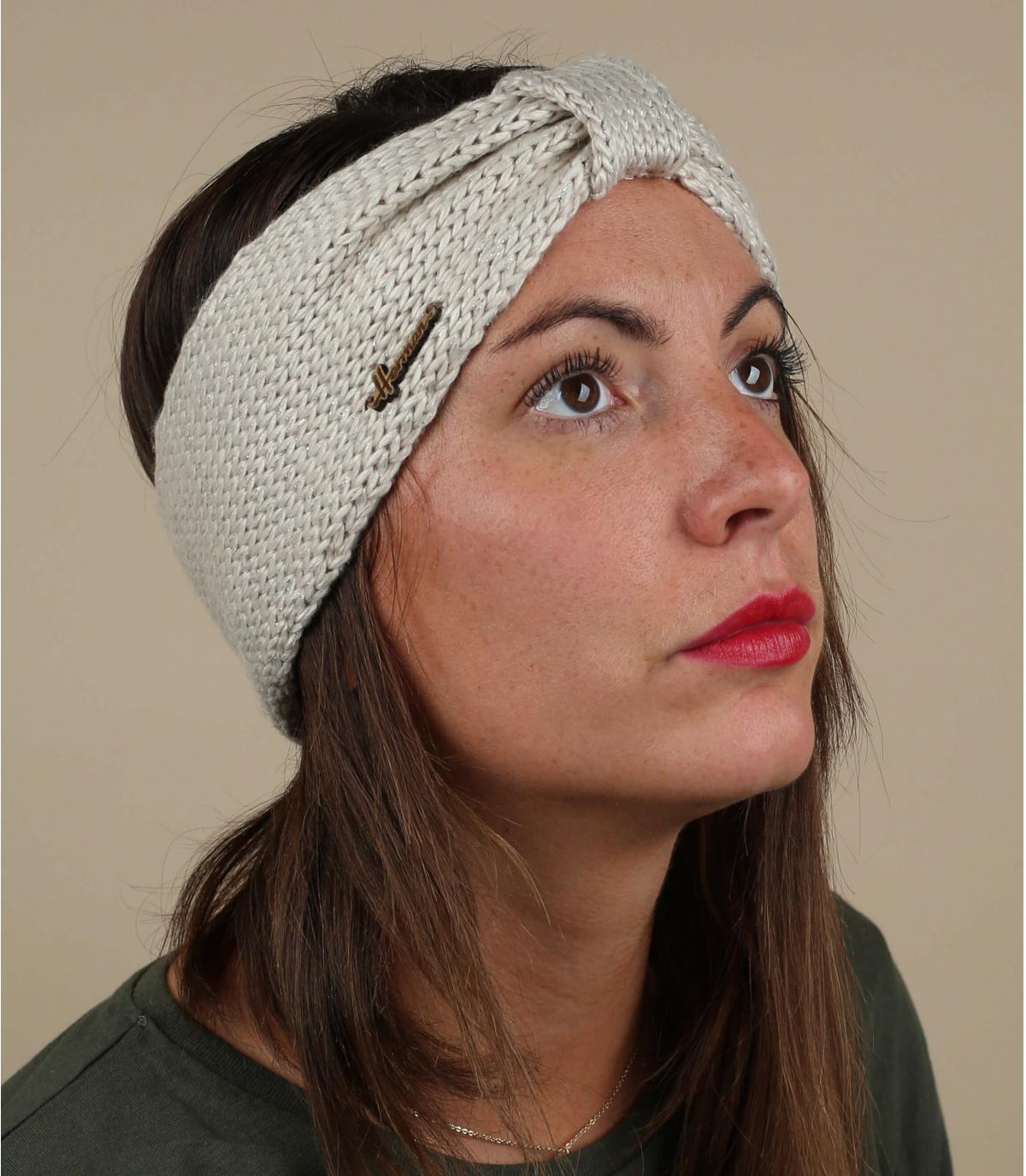 hoofdband beige wol lurex