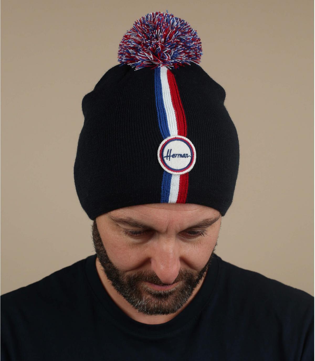 blauwe pompom hoed