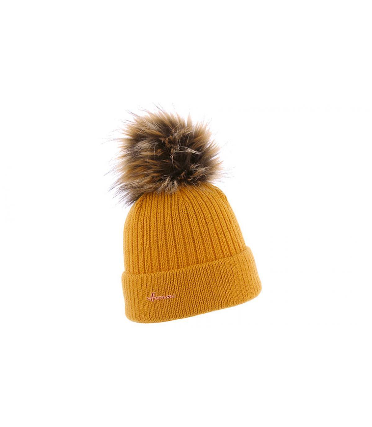 pomponbont met gele hoed