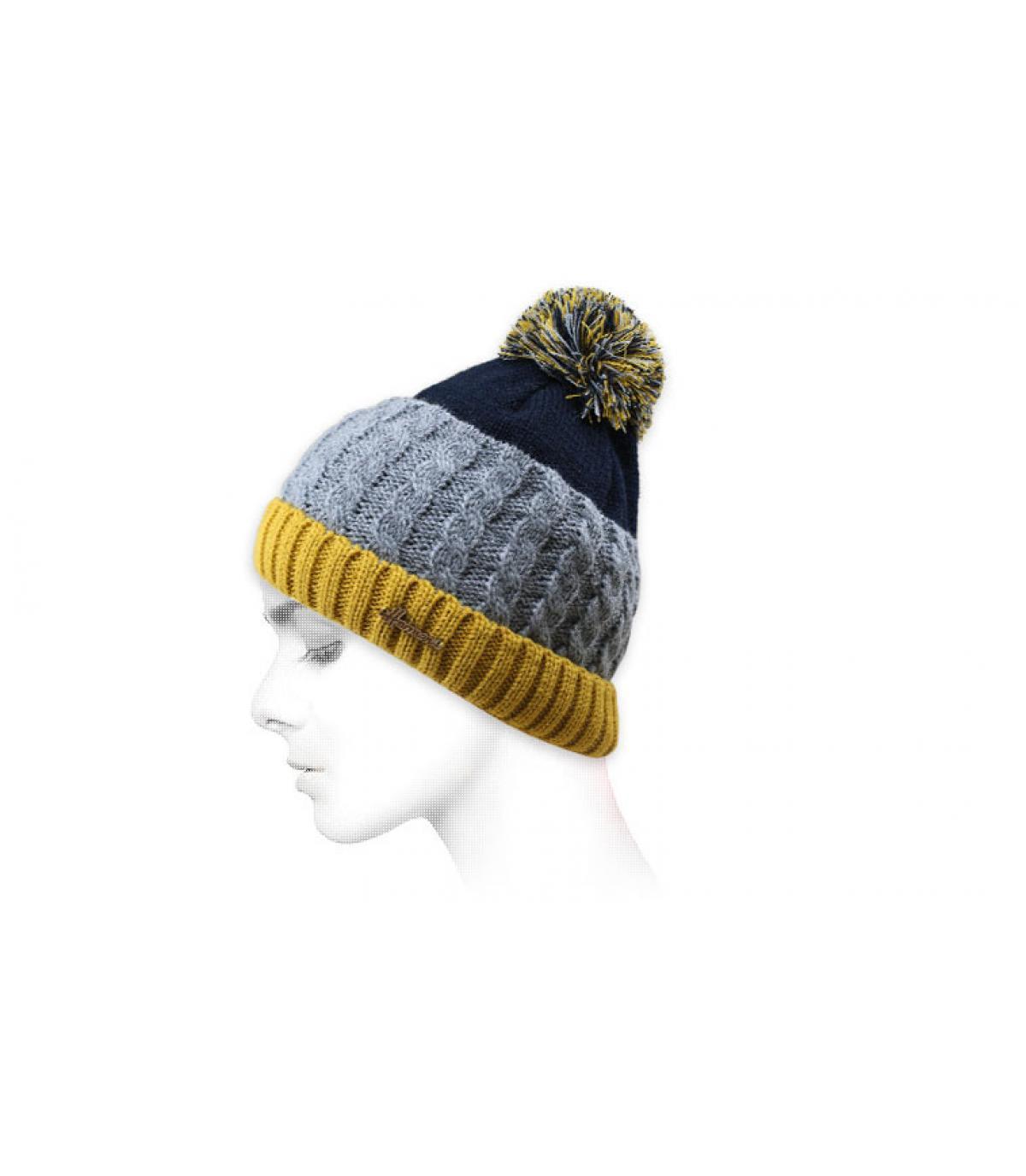 kwast hoed blauw geel grijs