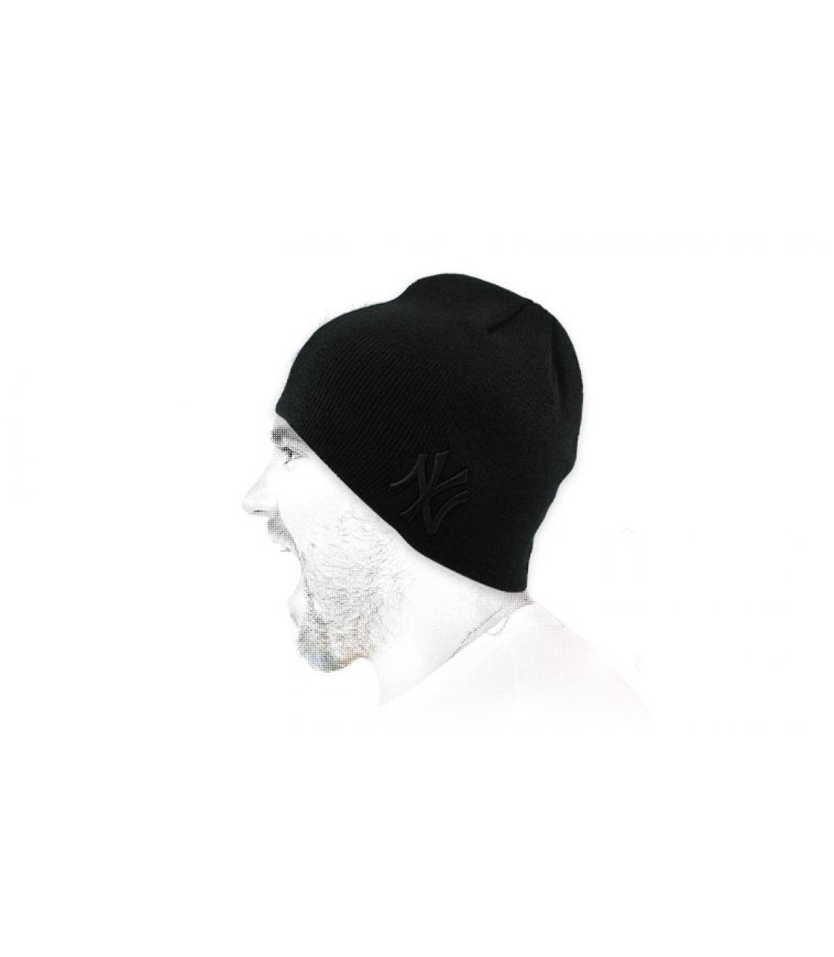 zwarte NY beanie