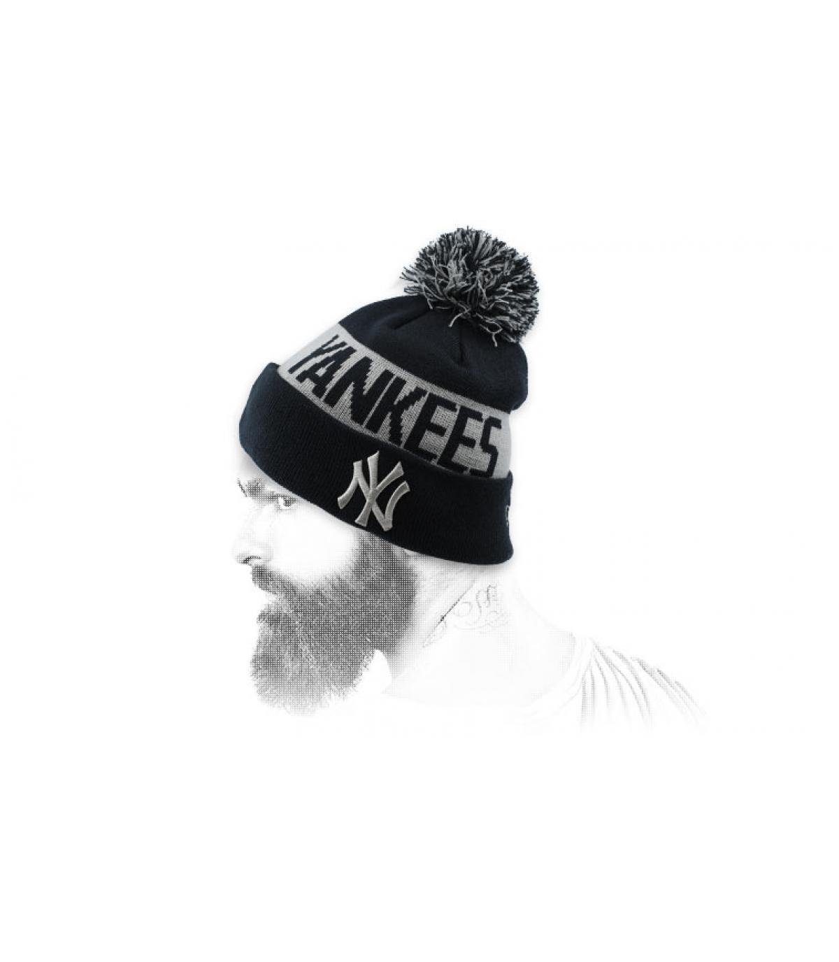 kap NY revers zwart grijs