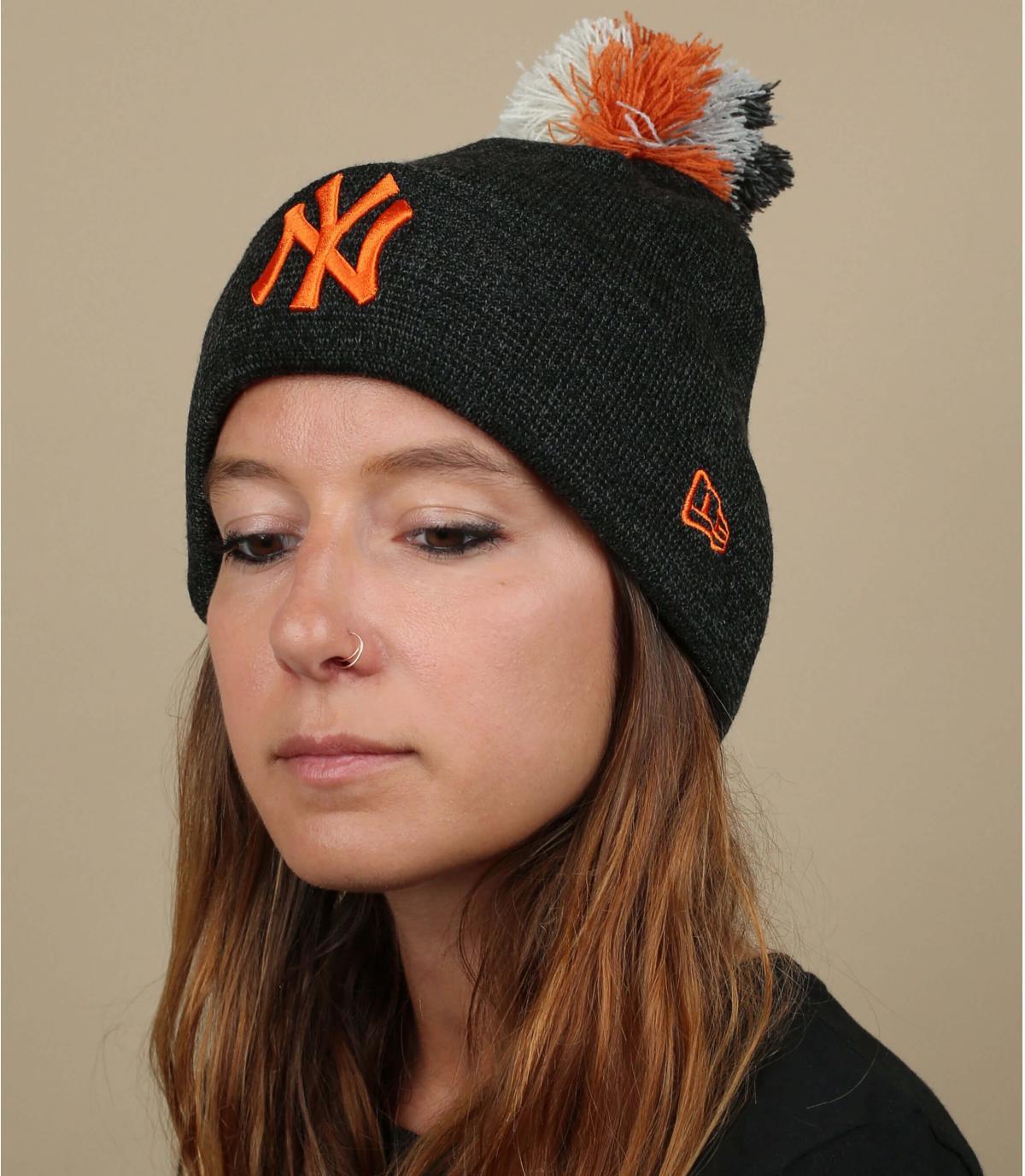 NY hoed vrouw oranje grijs