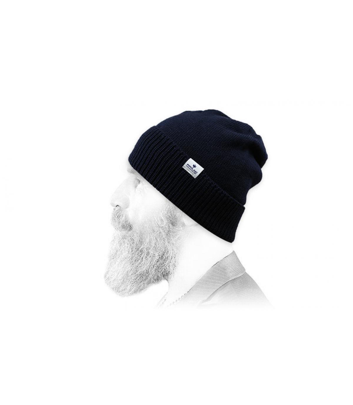 marineblauwe revers hoed