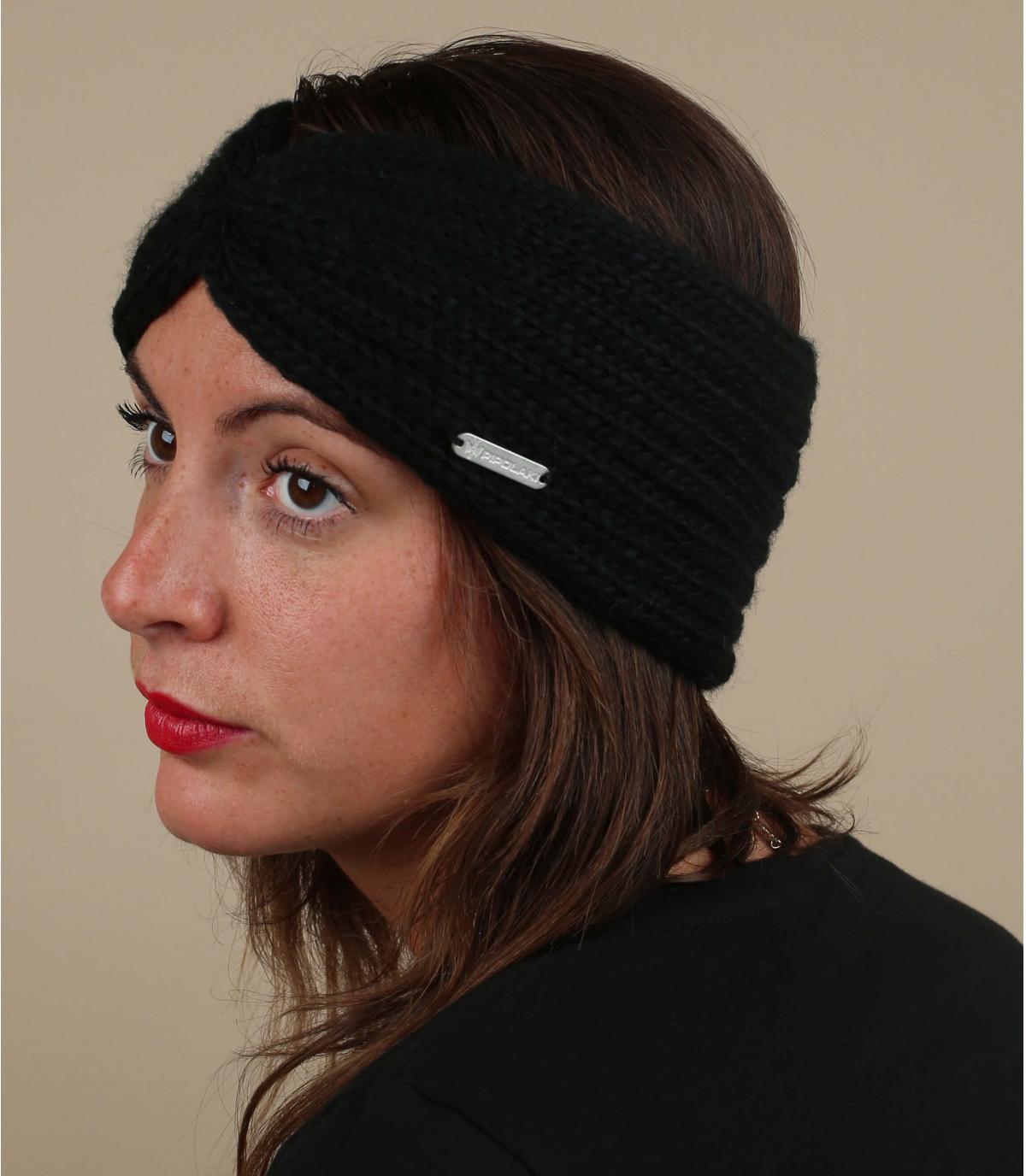 zwarte geplooide hoofdband