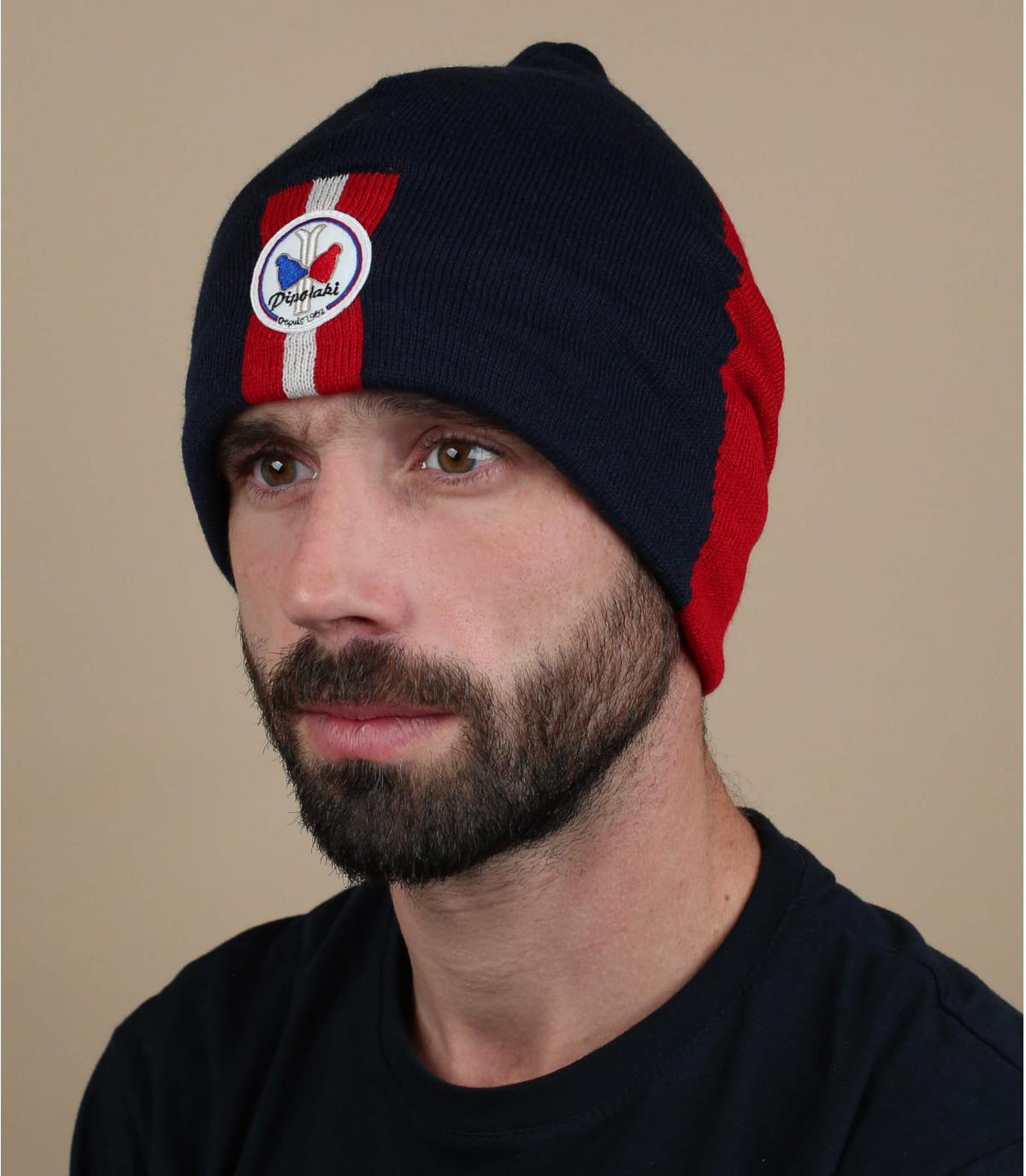rode blauwe lange hoed