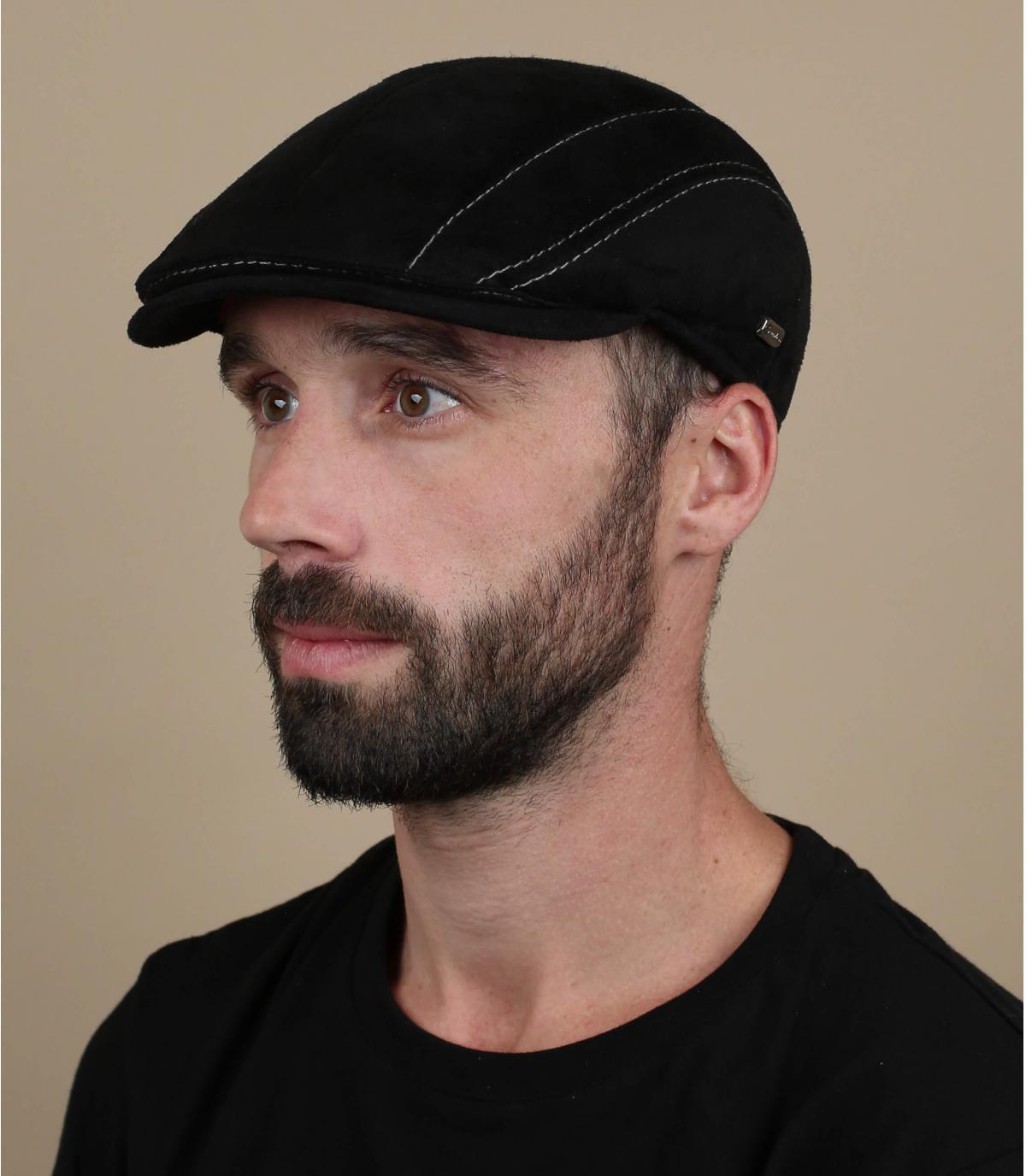 zwarte suede baret