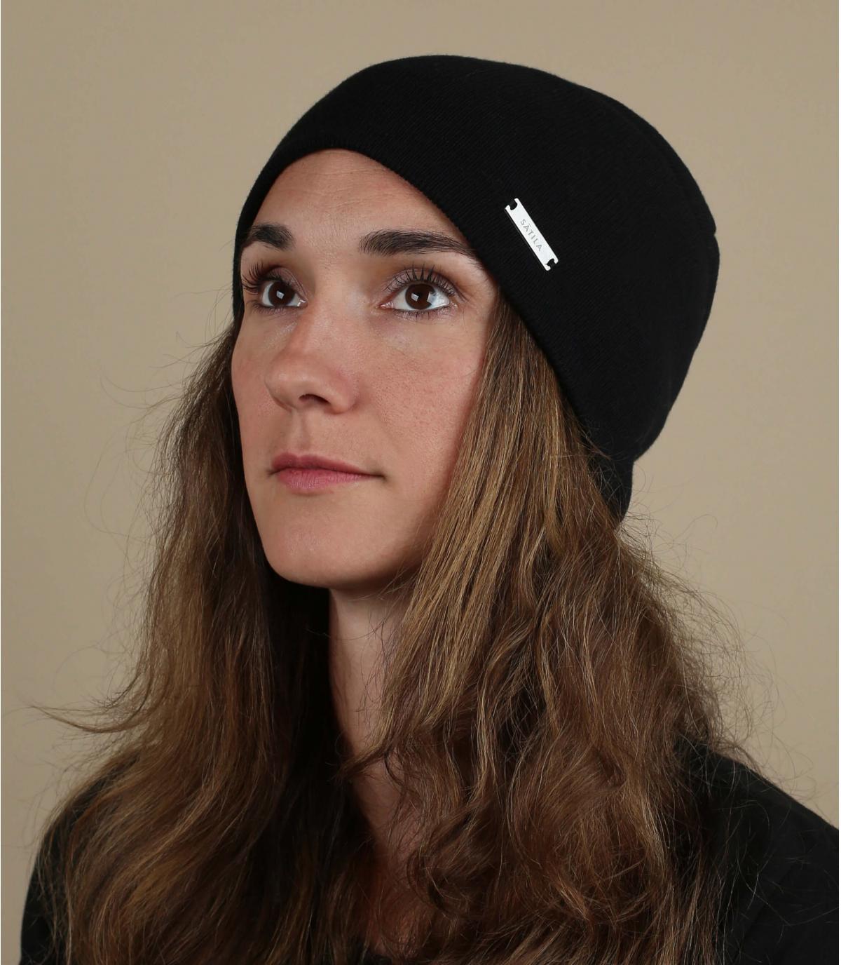 lange zwarte katoenen biologische hoed