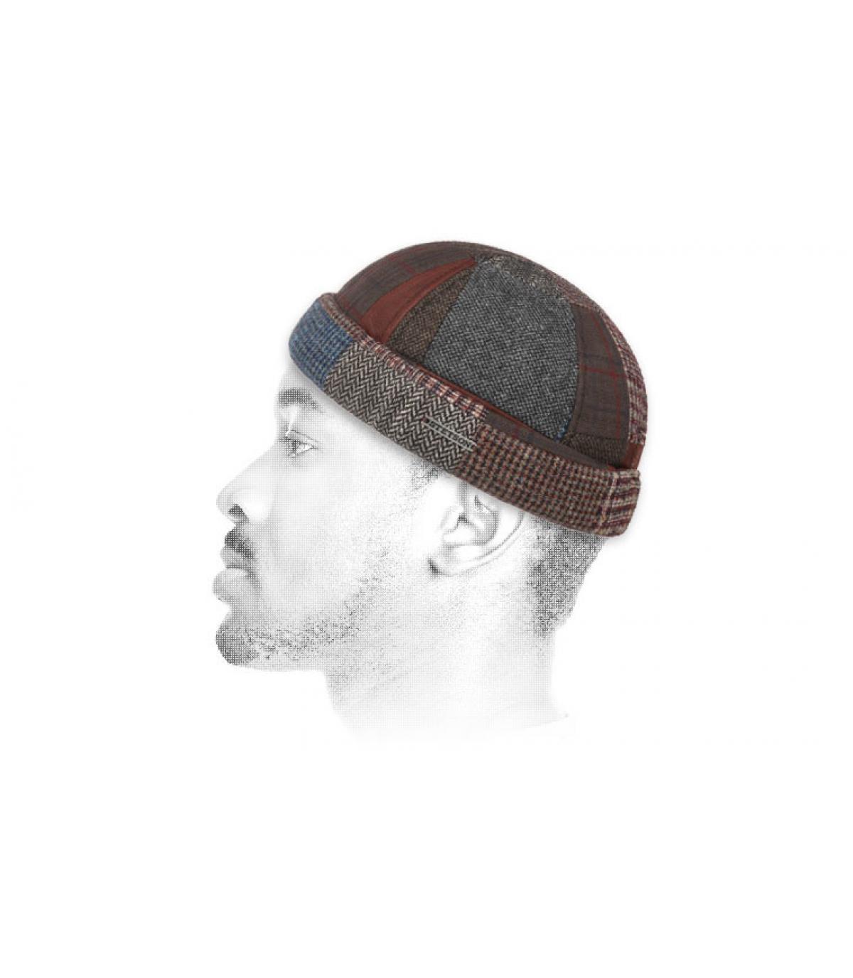 docker hoed patchwork wol leer