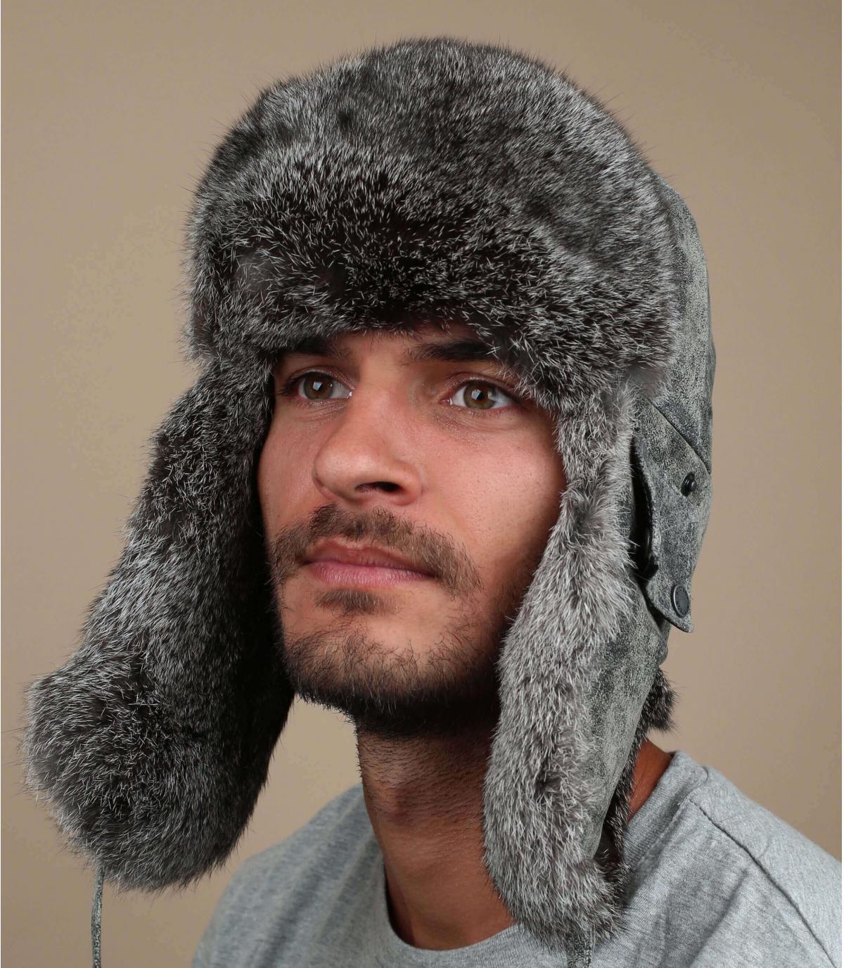 grijze leren hoed