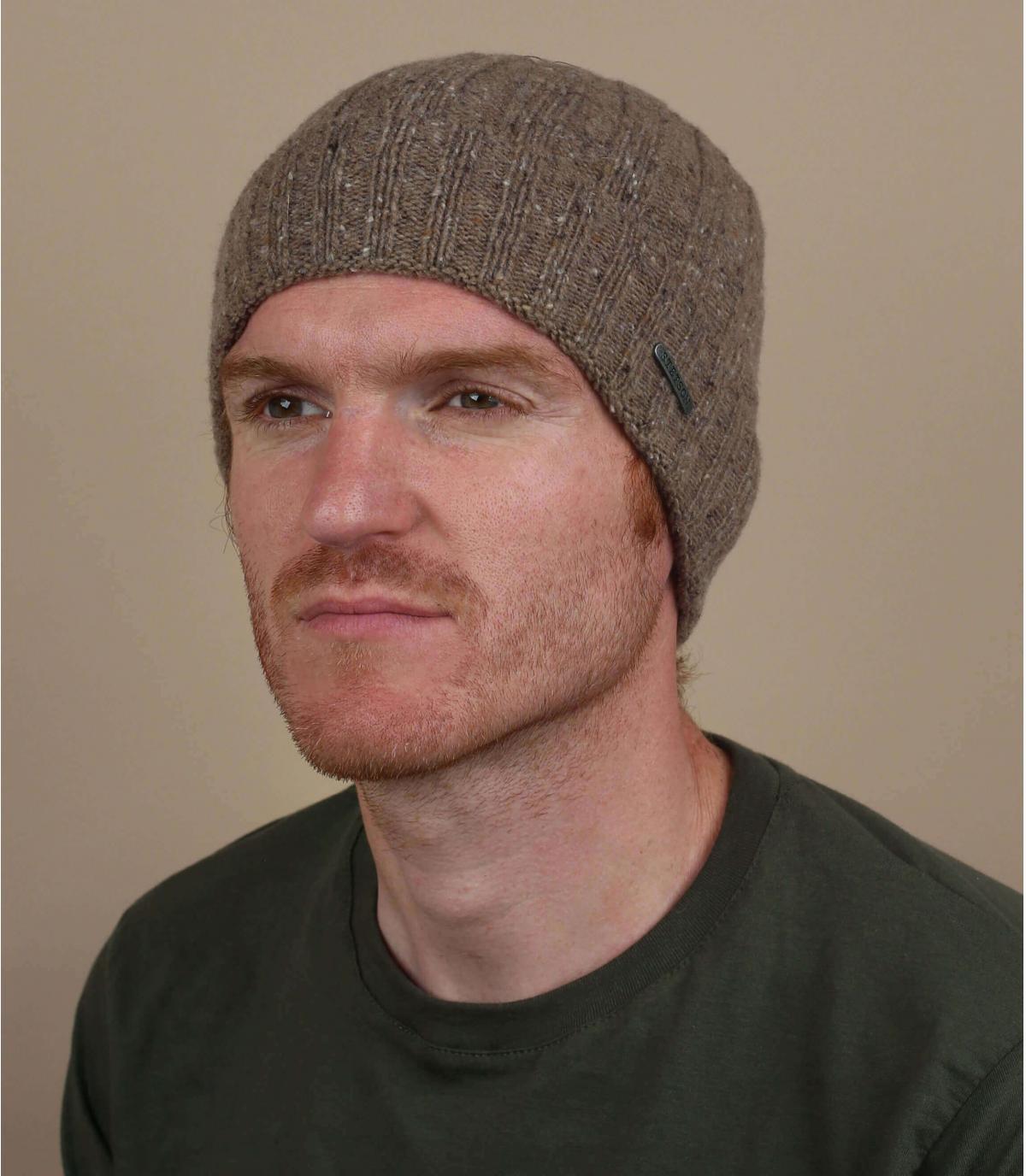 bruine wollen hoed revers