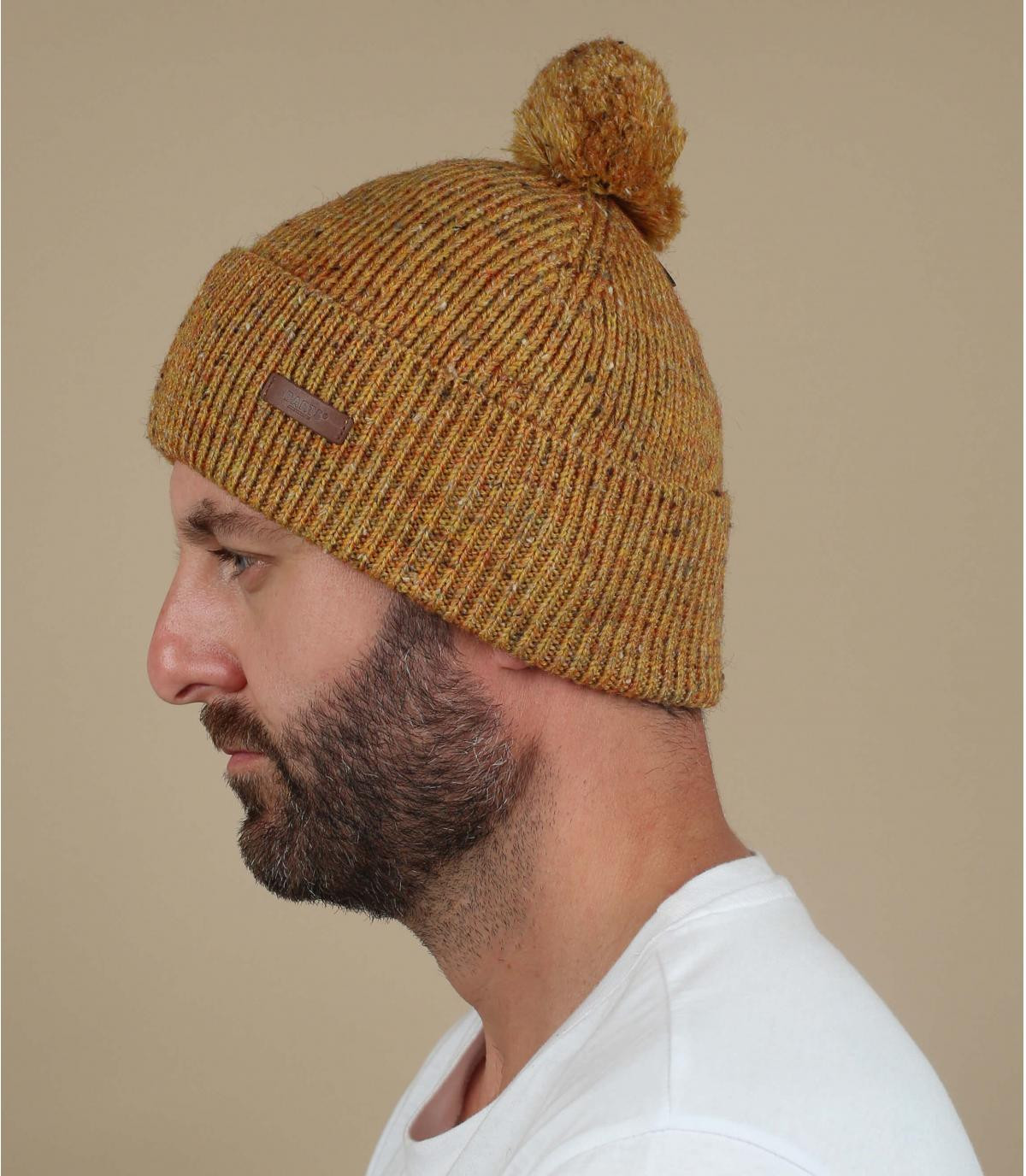 gele mosterd pompon hoed