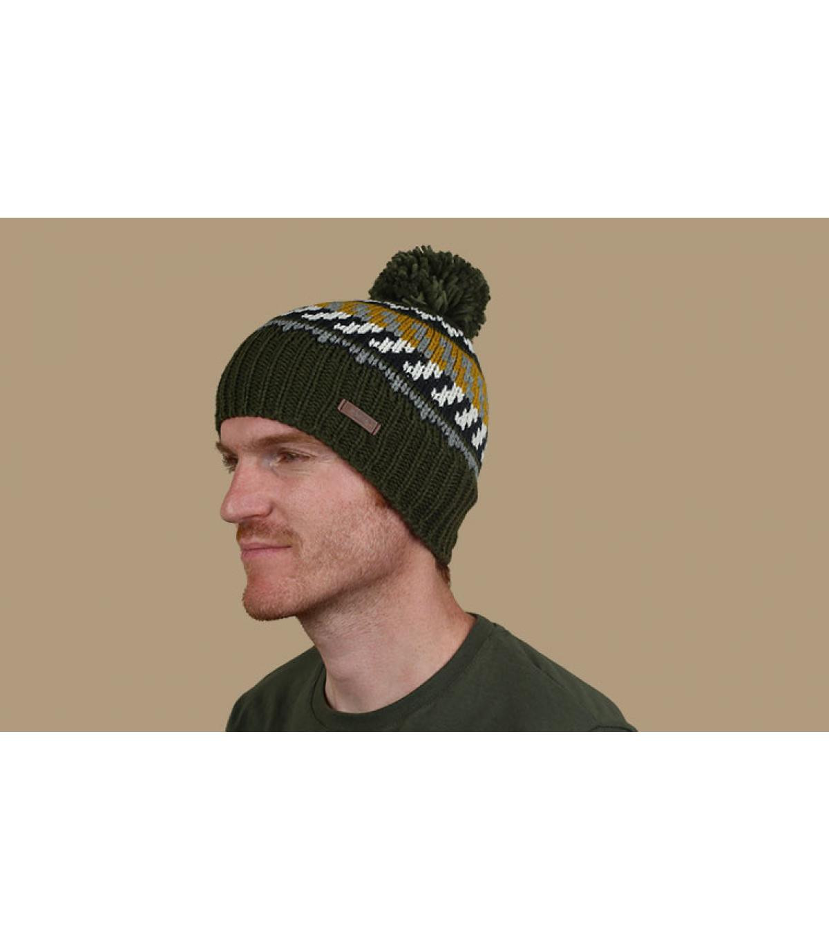 geelgroene pompom hoed