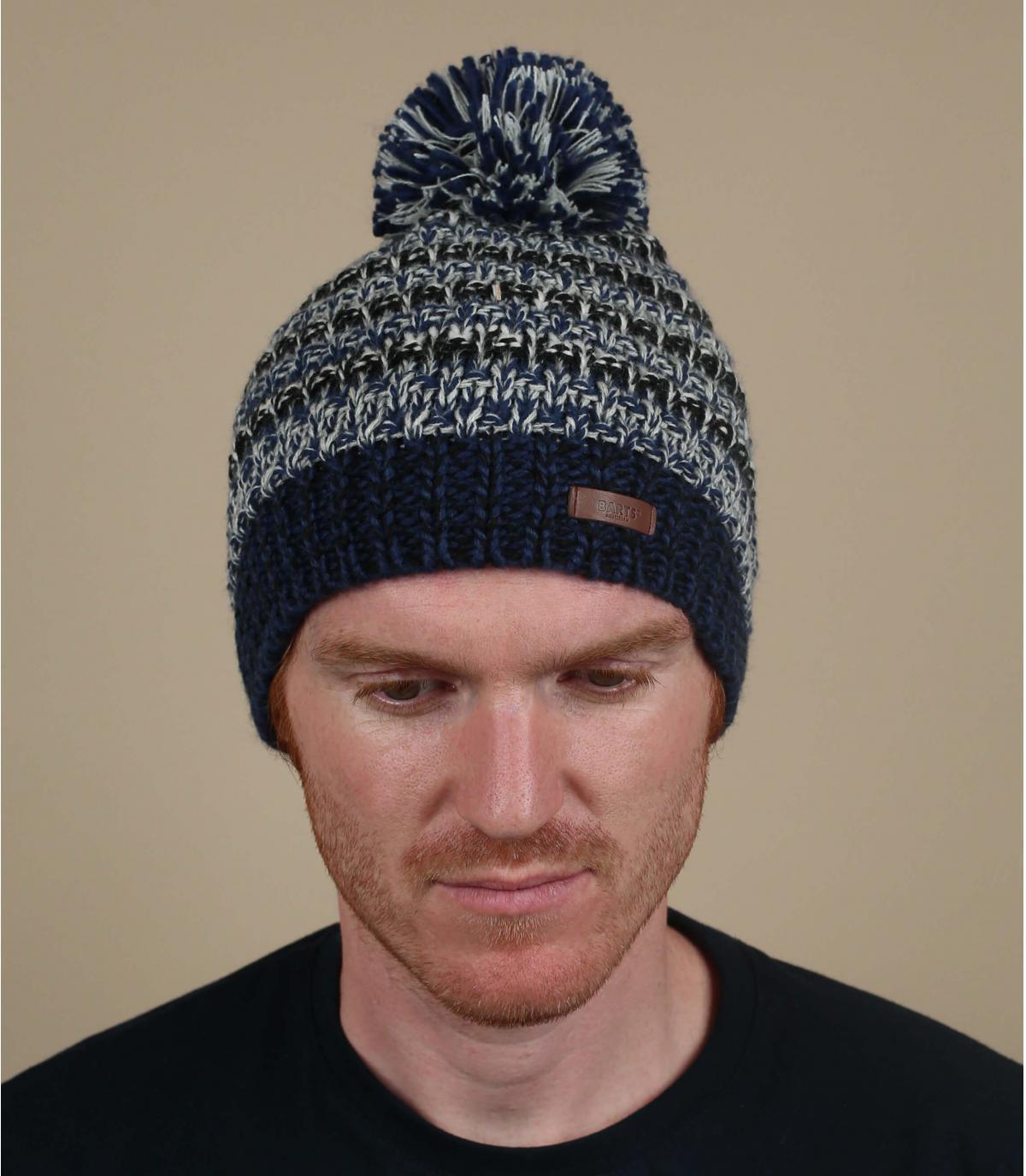 grijs blauw gestreepte hoed