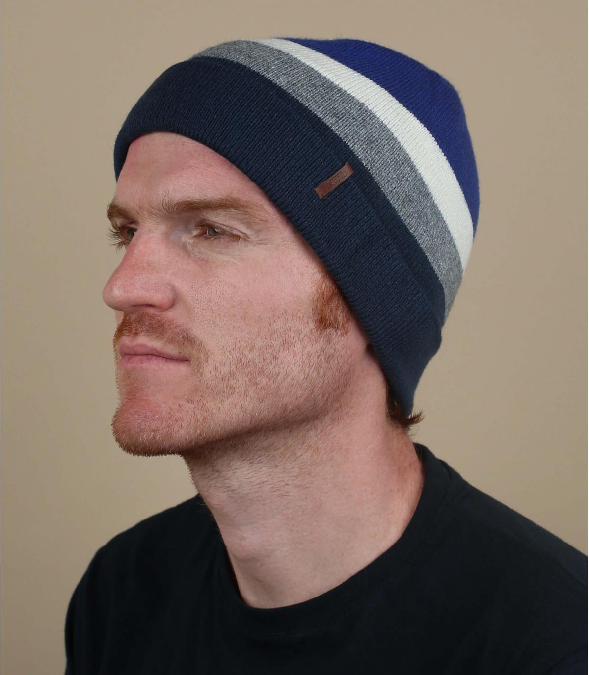 blauwe lange hoed met strepen
