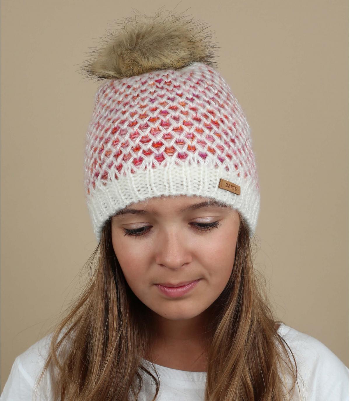 witte hoed meisje pompon vacht