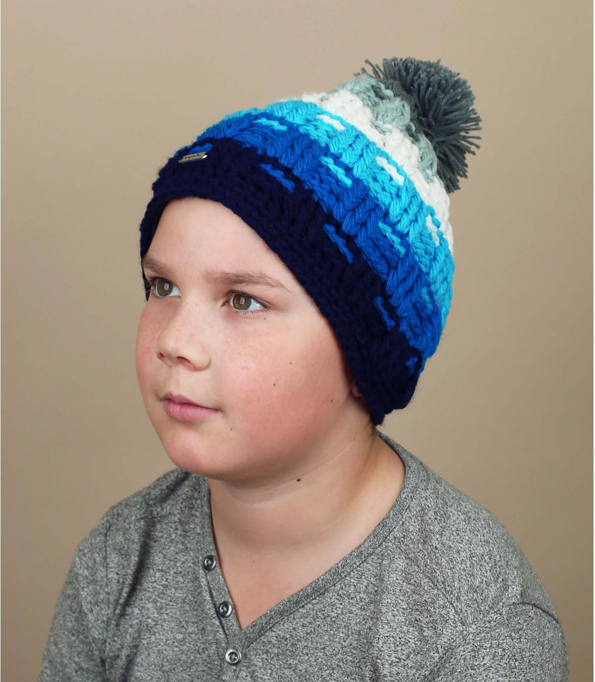 blauwe pompon kinderhoed