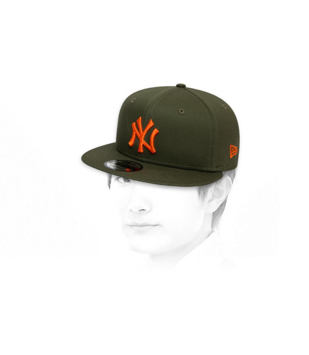 snapback NY kaki oranje