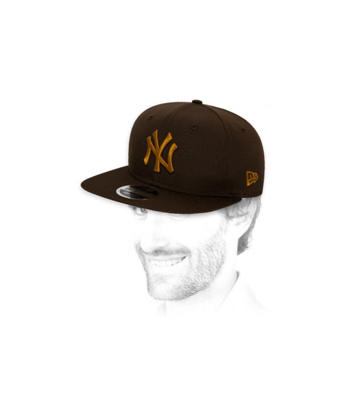 snapback NY zwart goud