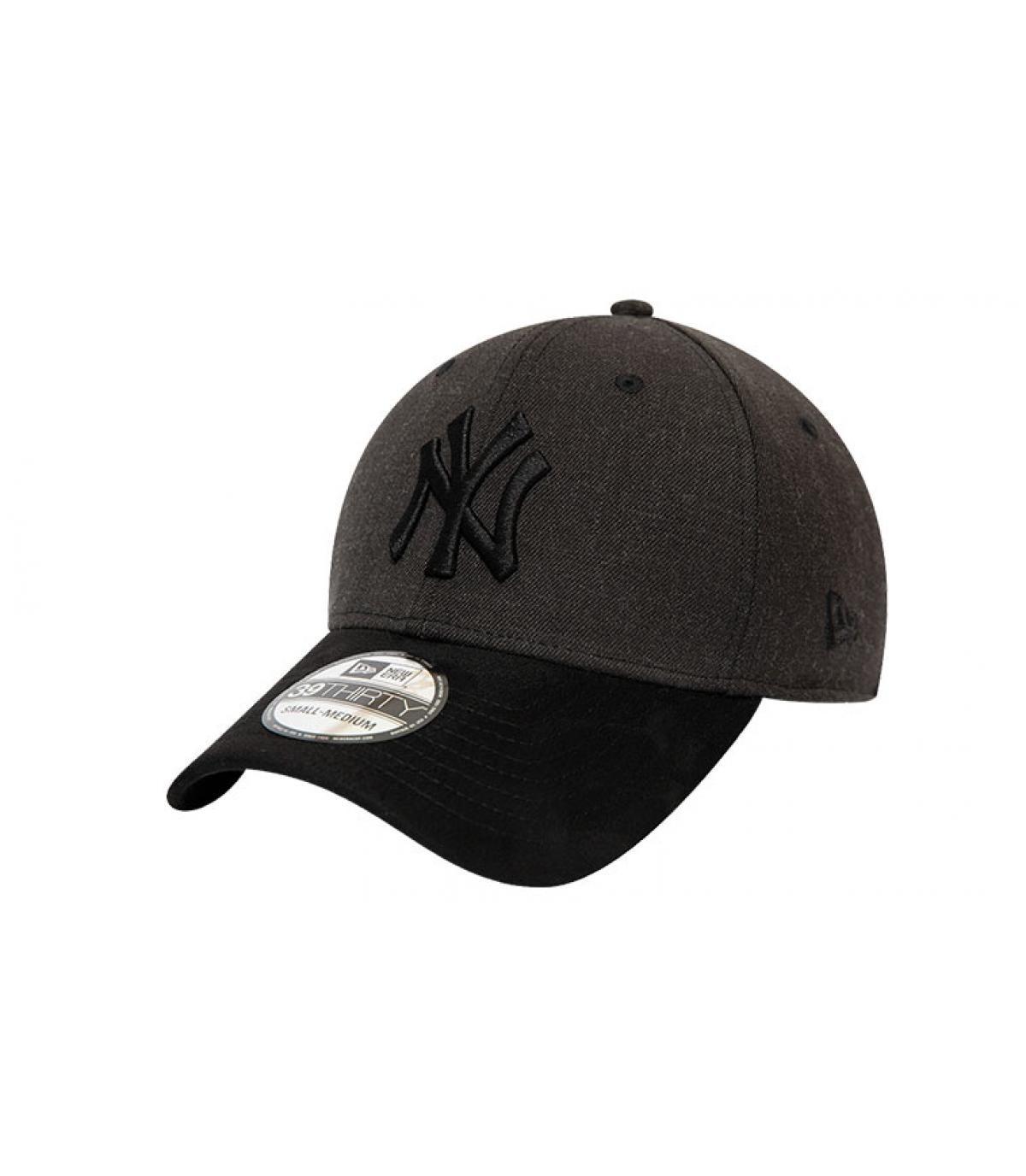 cap NY grijs zwart suede