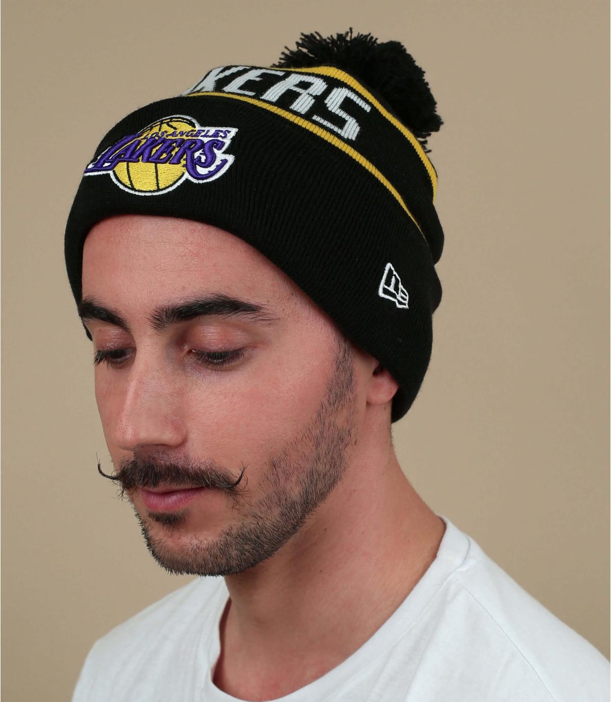 Zwarte pomponmuts van Lakers
