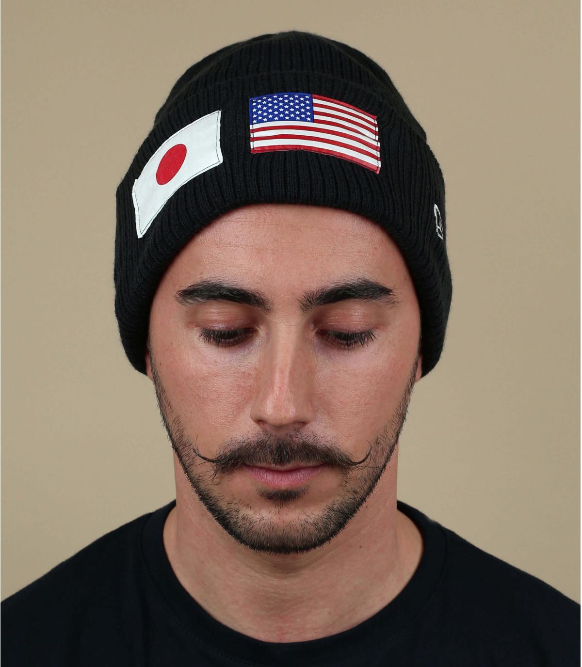 zwarte pet Amerikaanse vlag