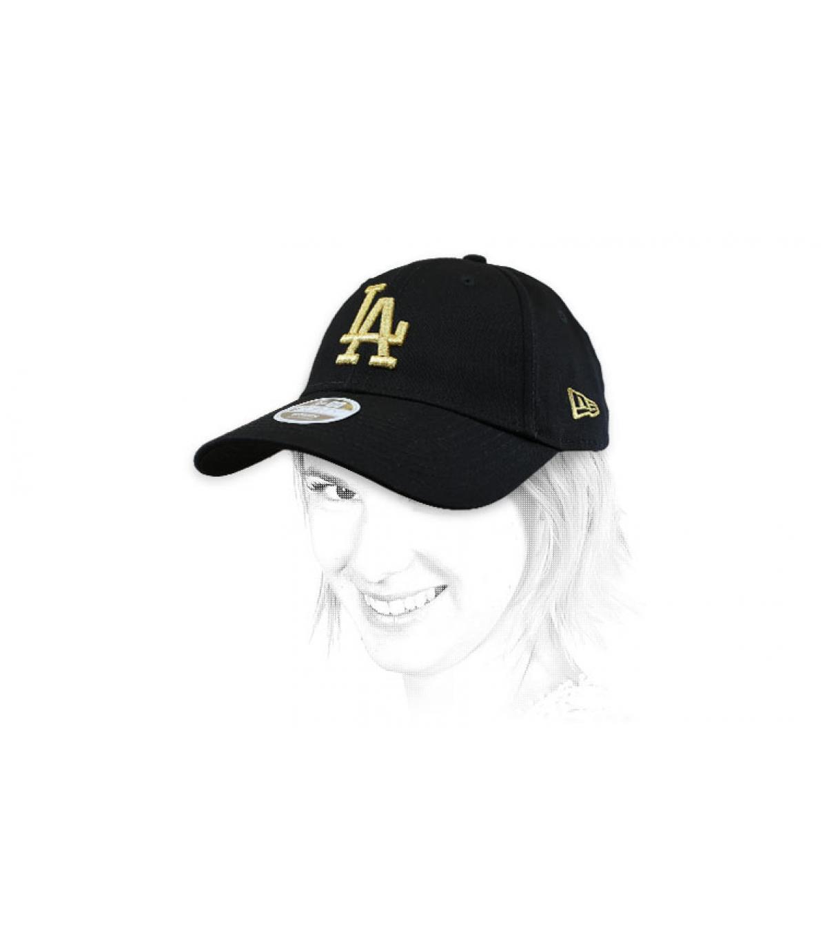 cap vrouw LA zwart goud