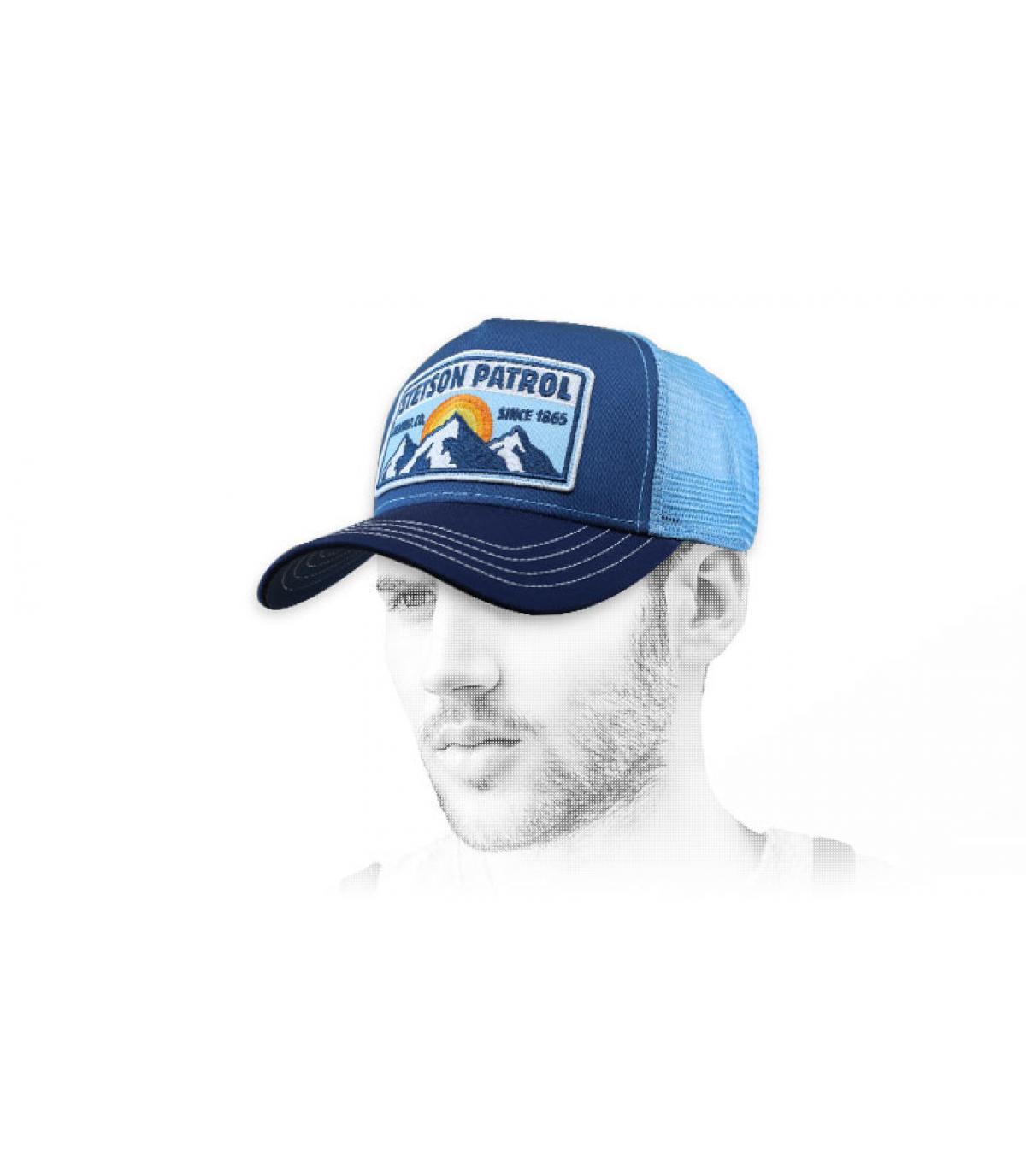 blauwe stetson trucker
