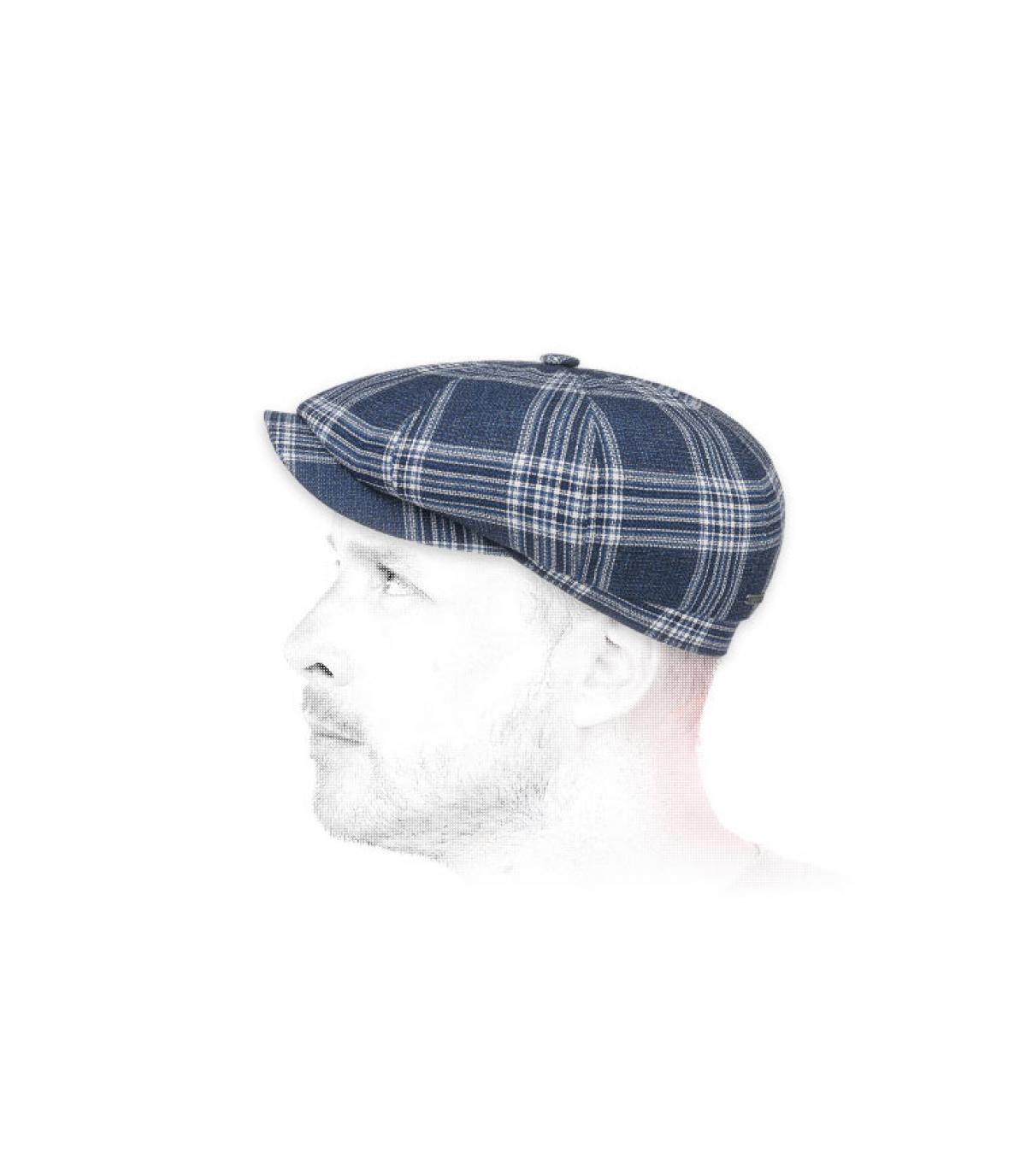 blauwe geruite wollen krantenverkoper baret