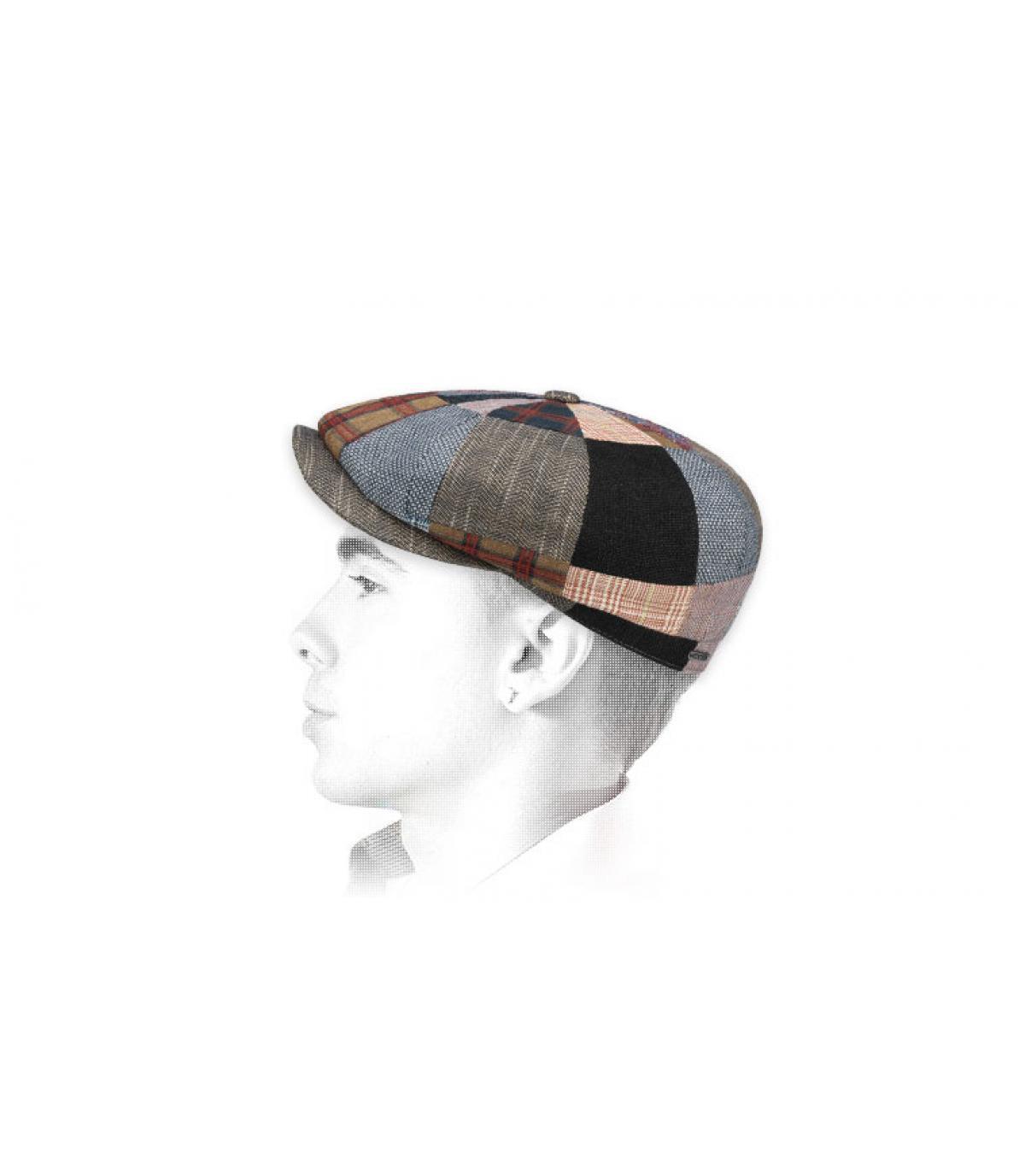 linnen patchwork krantenverkoper baret