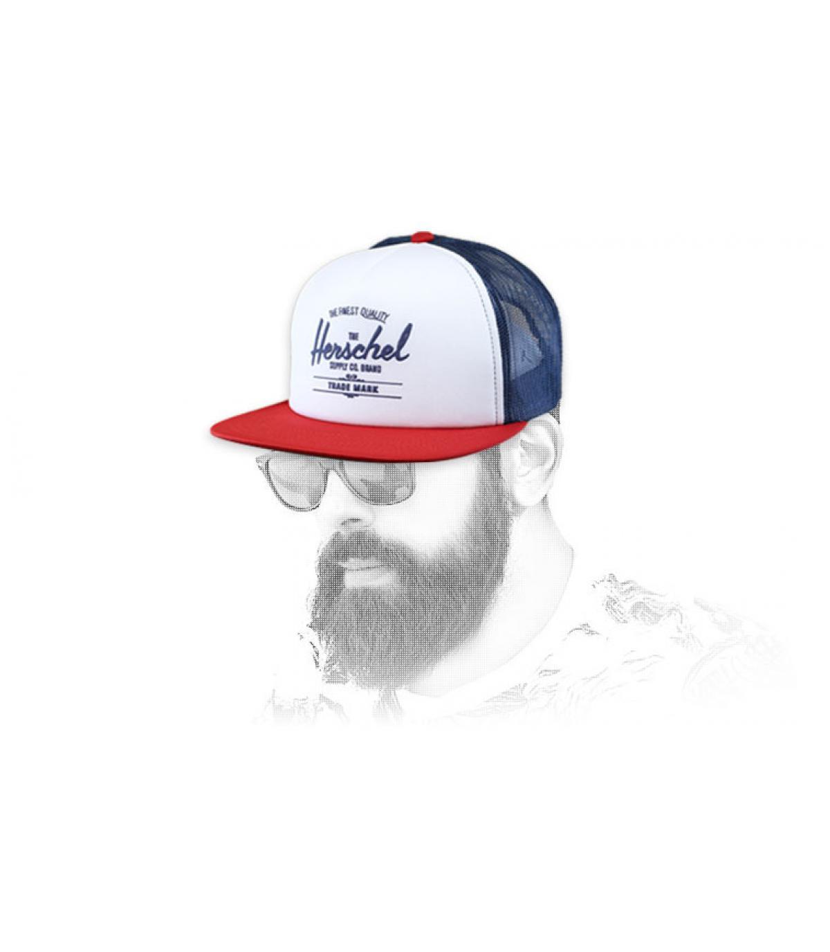 Herschel blauw wit rood trucker