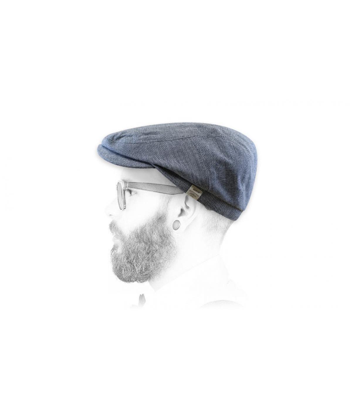 blauwe linnen katoenen baret