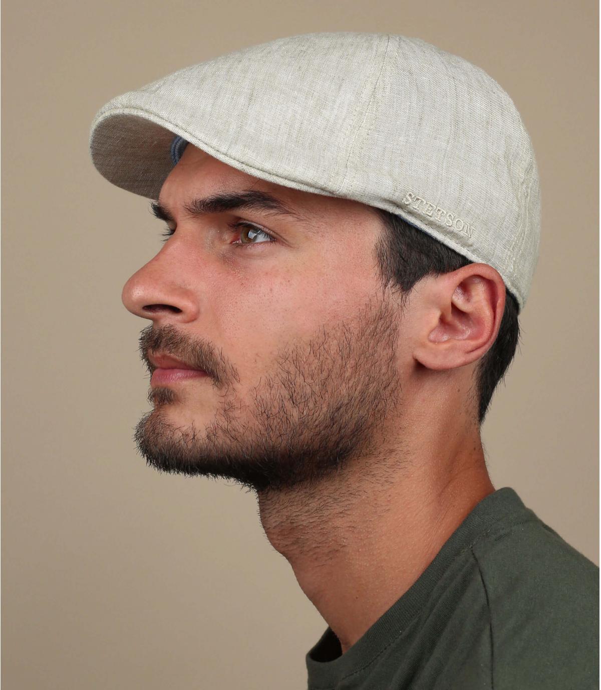 eendenbek cap beige linnen