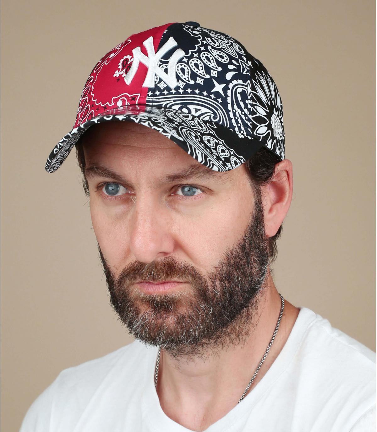 zwart rode bandana NY cap