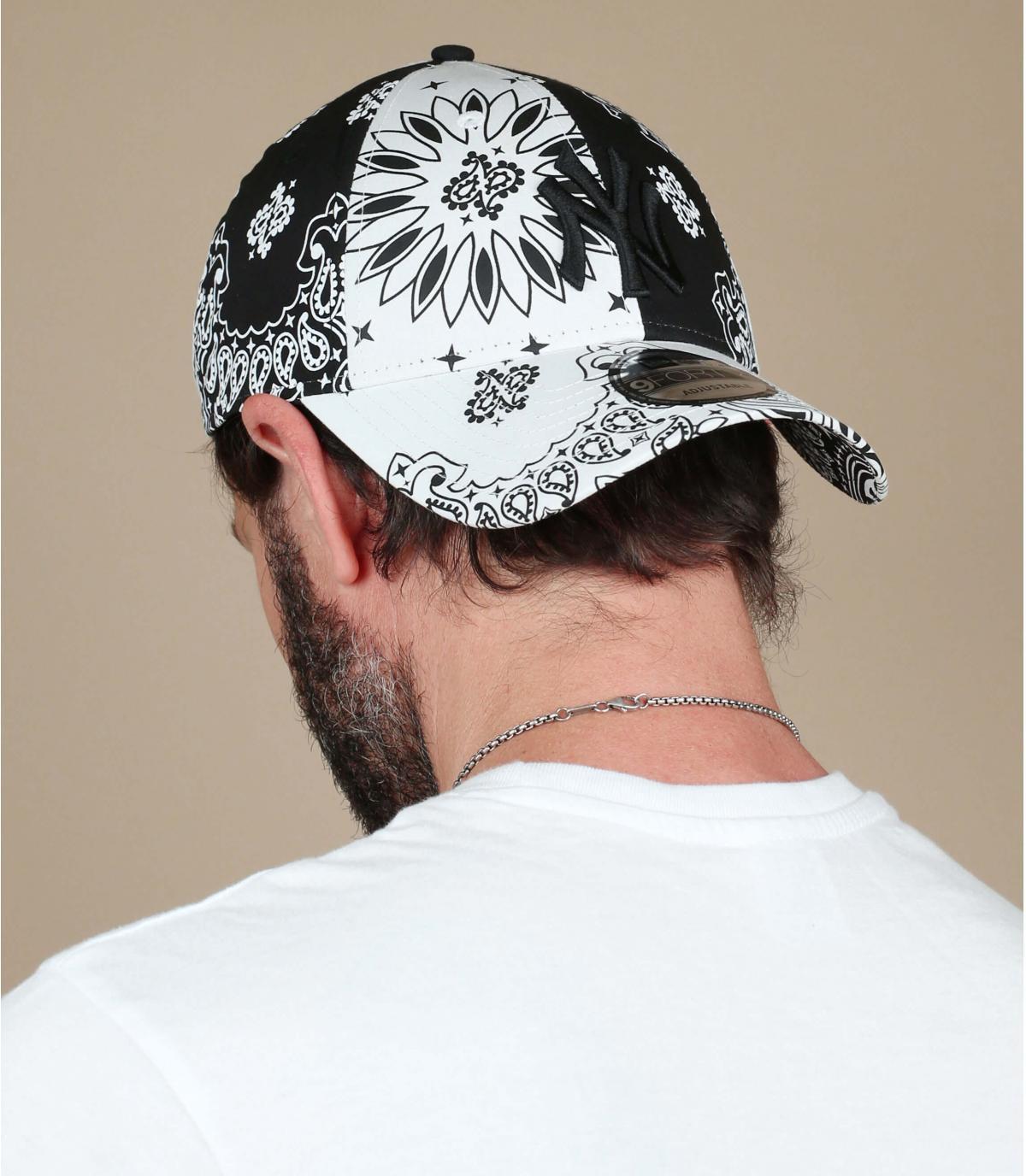 zwart witte bandana NY cap