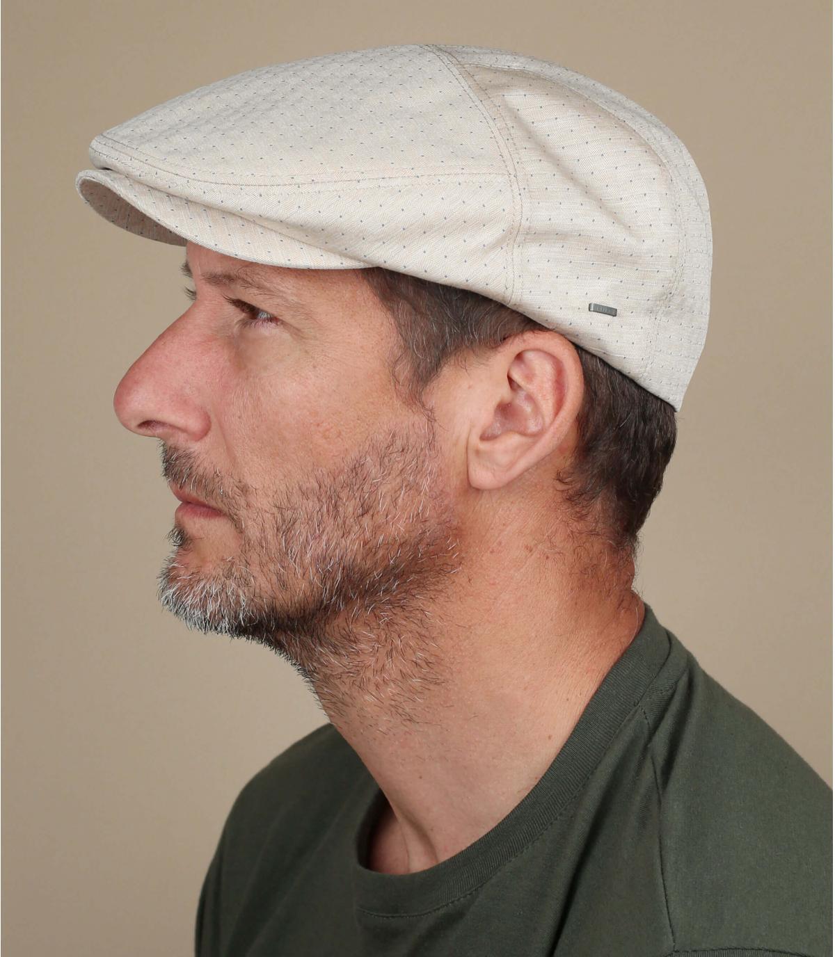Beige katoenen jacquard baret