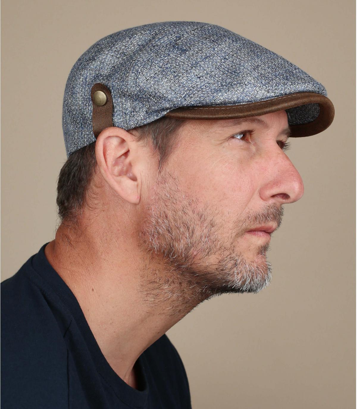 blauwe linnen zijden baret