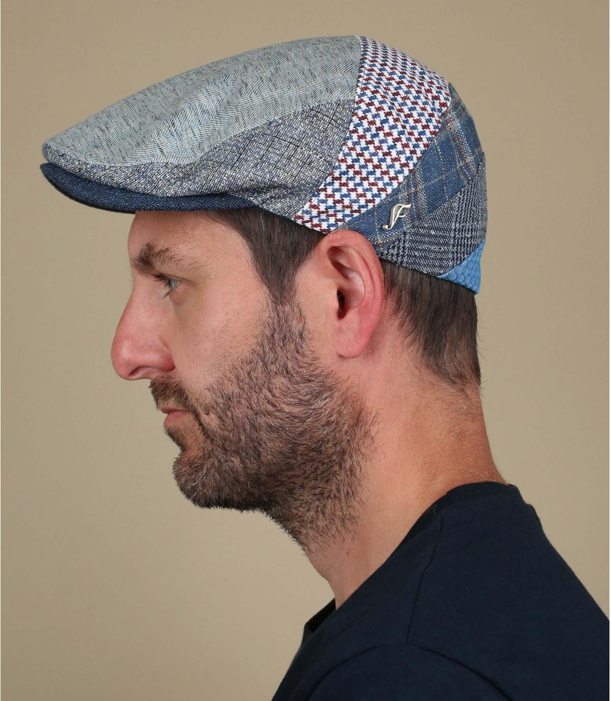 linnen zijde patchwork baret